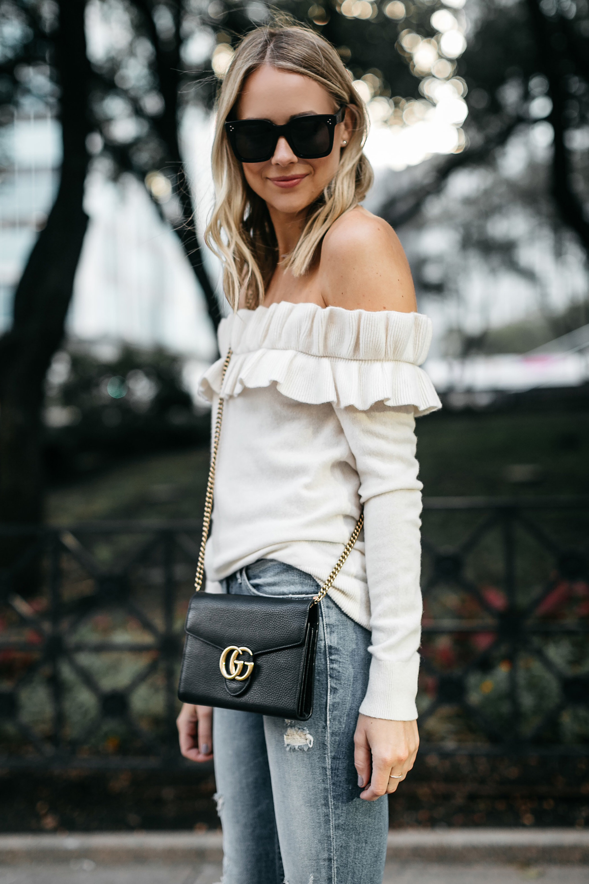 Blonde Woman Wearing Club Monaco Ruffle Off-the-Shoulder Sweater Gucci Marmont Handbag Fashion Jackson Dallas Blogger Fashion Blogger Street Style