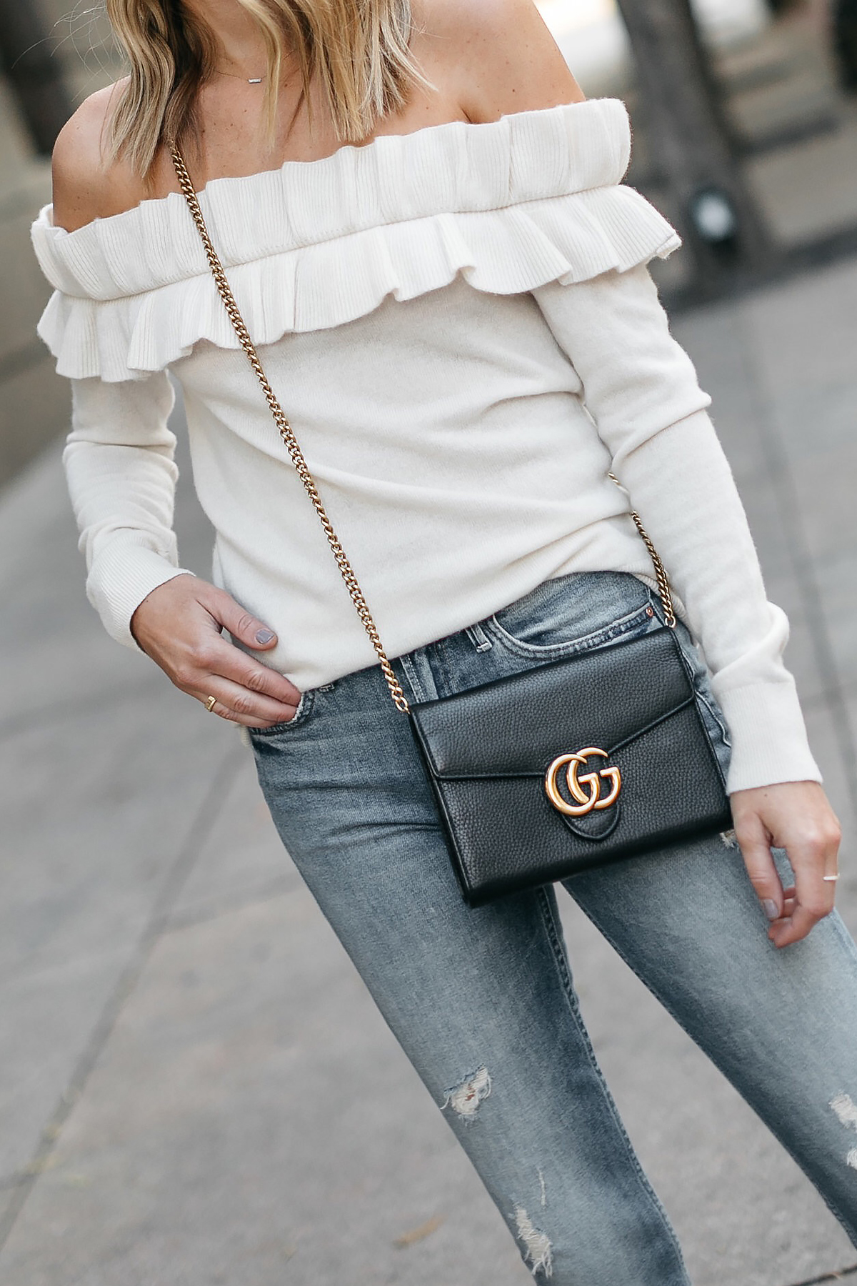 Club Monaco Ruffle Off-the-Shoulder Sweater Gucci Marmont Handbag Denim Ripped Jeans Fashion Jackson Dallas Blogger Fashion Blogger Street Style