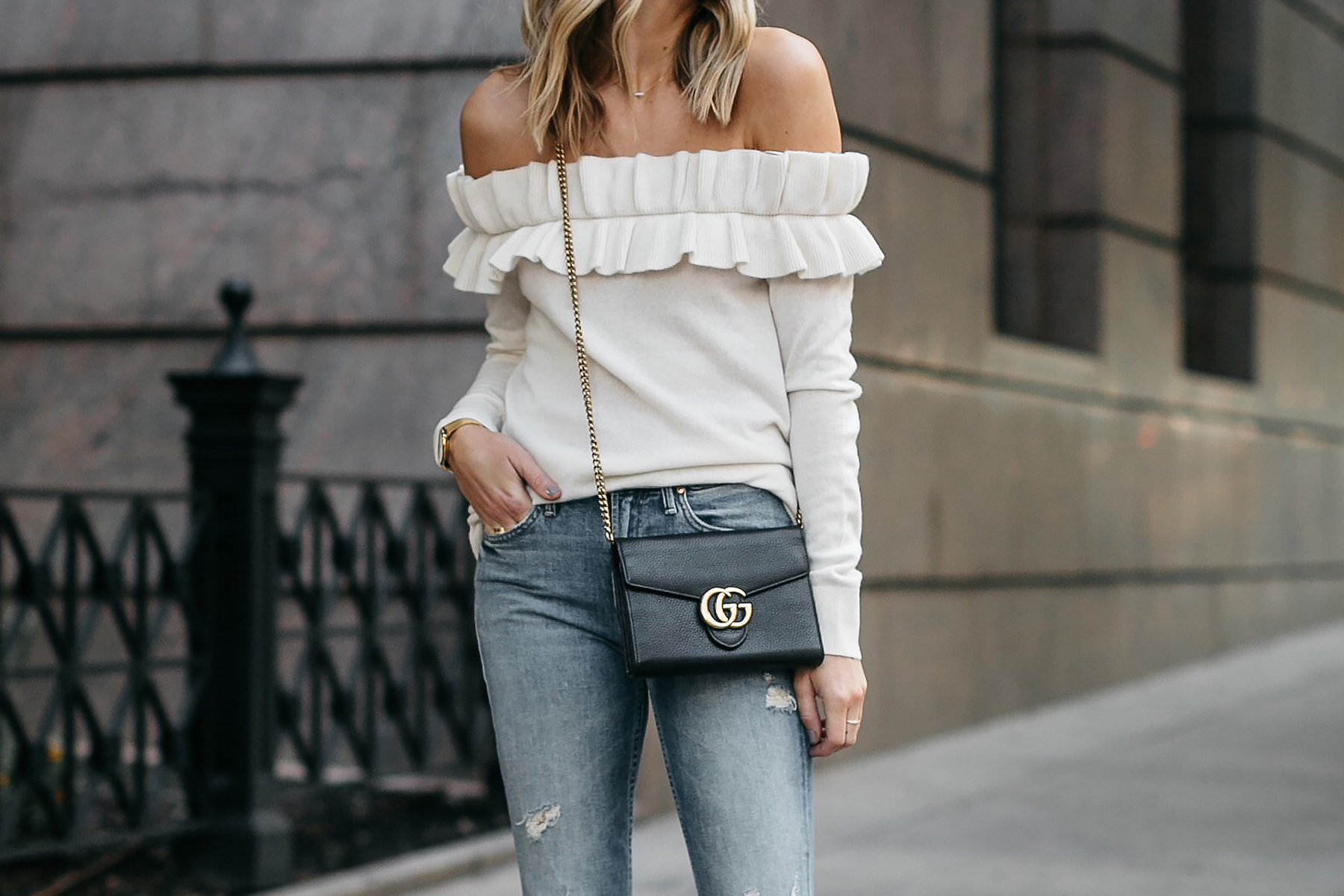 Club Monaco Ruffle Off-the-Shoulder Sweater Gucci Marmont Handbag Fashion Jackson Dallas Blogger Fashion Blogger Street Style