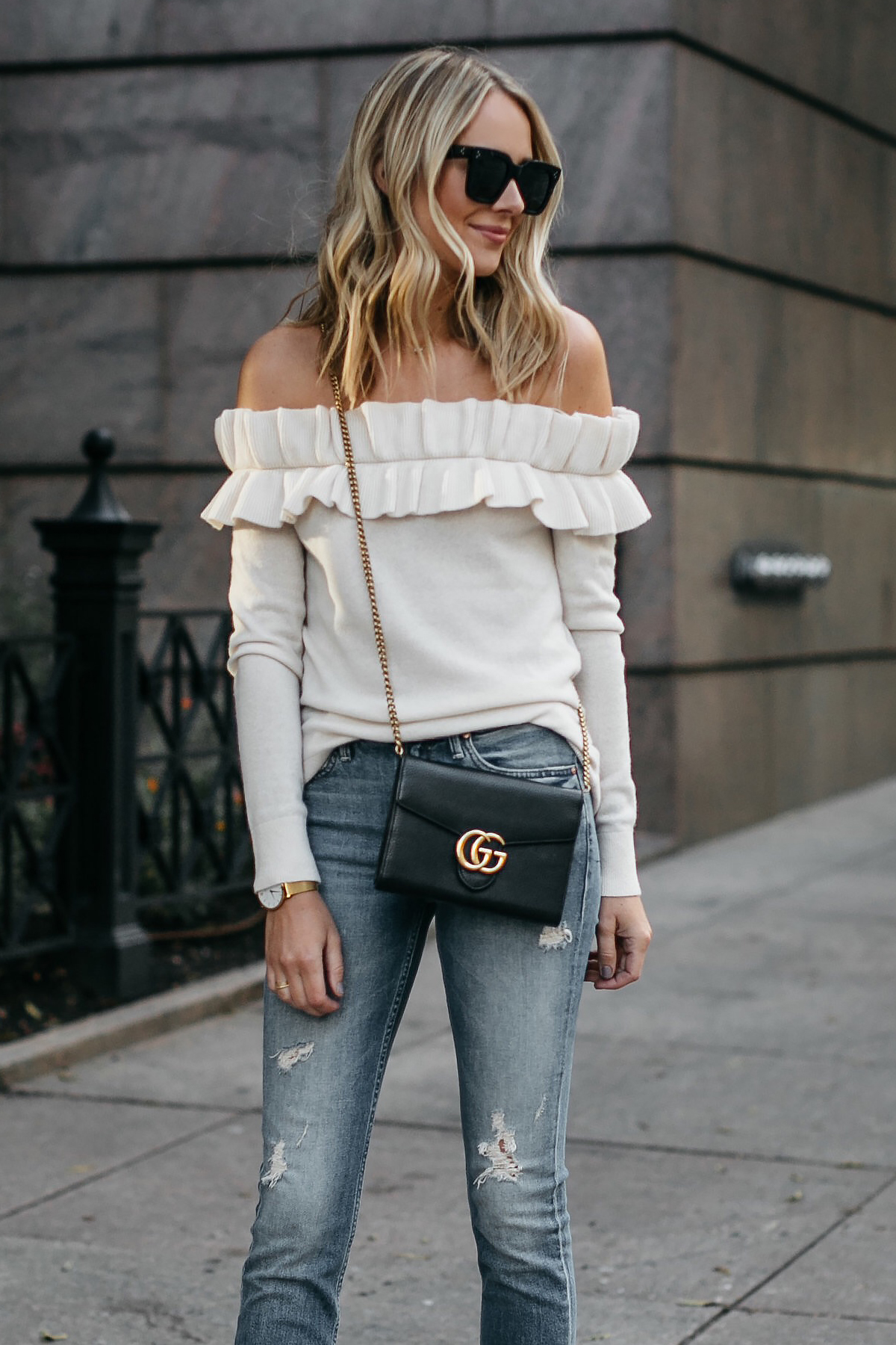 Blonde Woman Wearing Club Monaco Ruffle Off-the-shoulder sweater Mother denim ripped jeans gucci marmont handbag Fashion Jackson Dallas Blogger Fashion Blogger Street Style