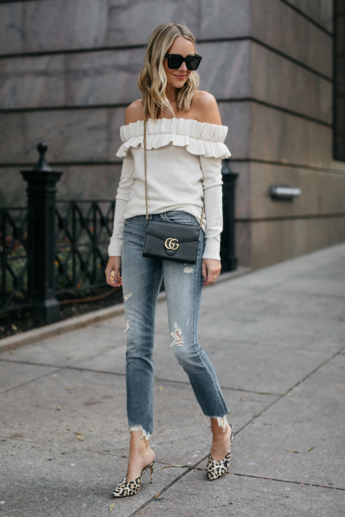 Blonde Woman Wearing Club Monaco Ruffle Off-the-shoulder sweater Mother denim ripped jeans leopard heels gucci marmont handbag Fashion Jackson Dallas Blogger Fashion Blogger Street Style