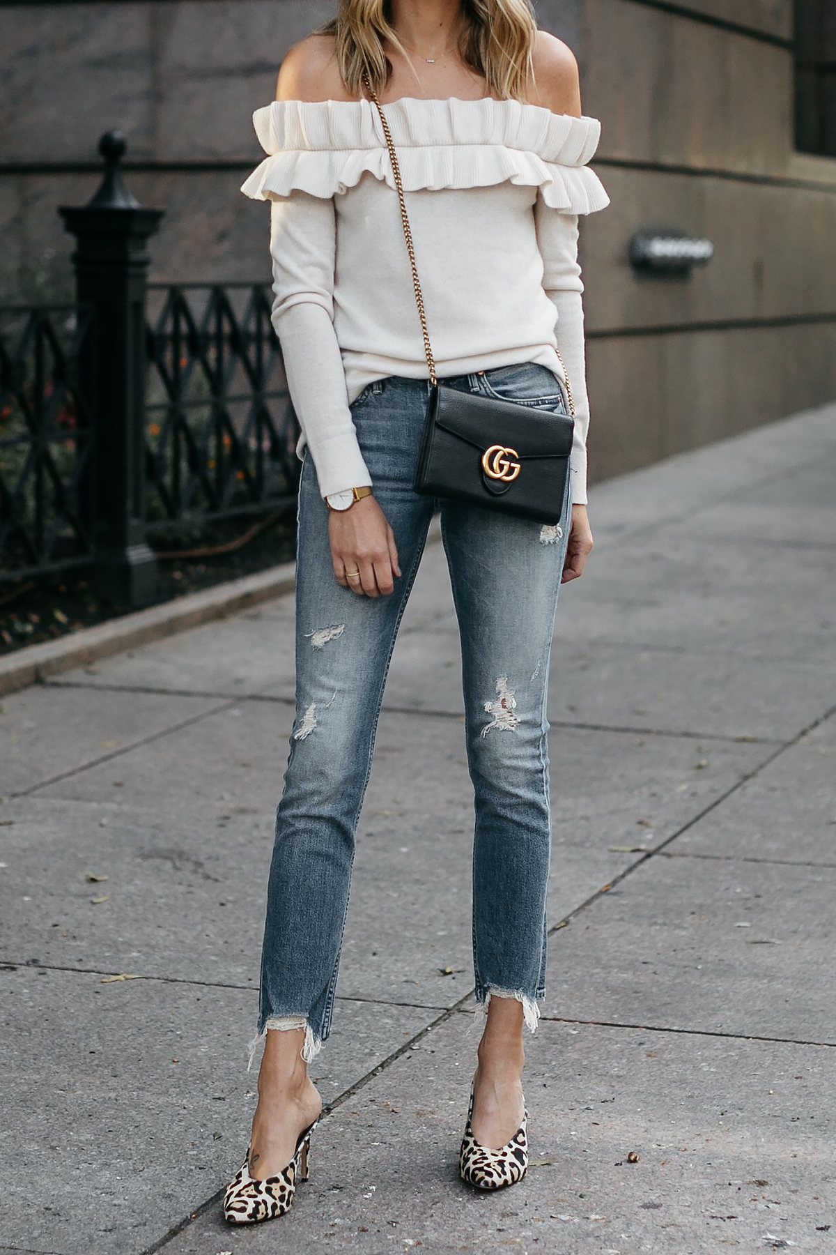 Club Monaco Ruffle Off-the-shoulder sweater Mother denim ripped jeans leopard heels gucci marmont handbag Fashion Jackson Dallas Blogger Fashion Blogger Street Style