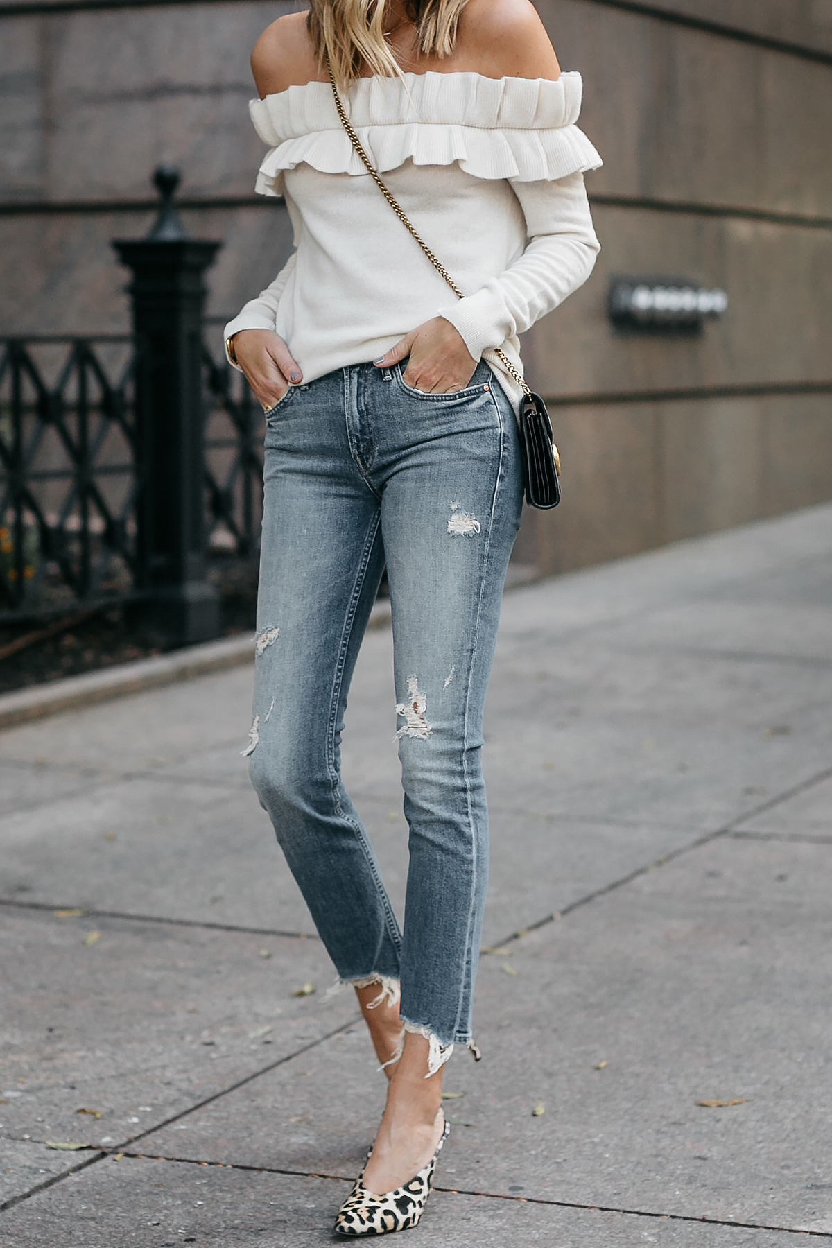 Club Monaco Ruffle Off-the-shoulder sweater Mother denim ripped jeans leopard heels Fashion Jackson Dallas Blogger Fashion Blogger Street Style