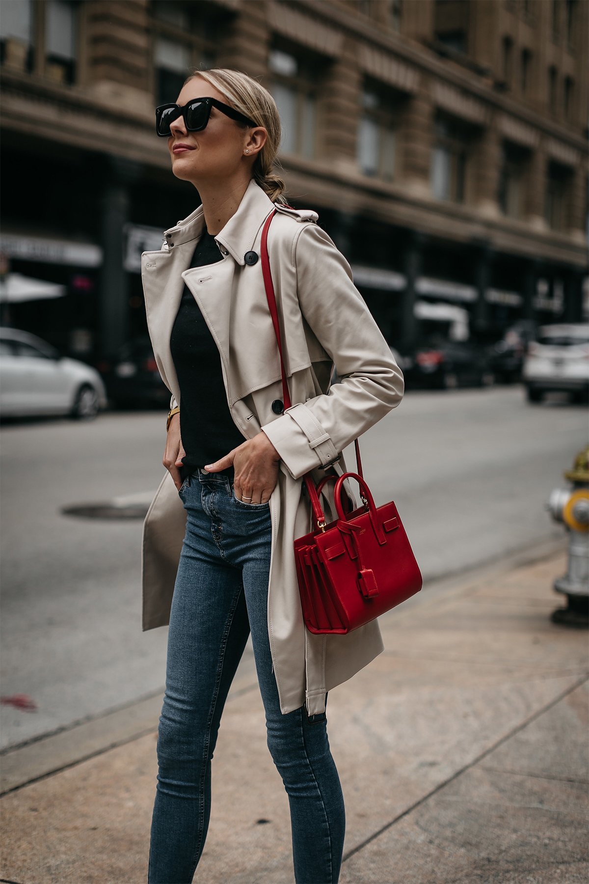 Fashion Jackson Club Monaco Trench Coat Black Sweater Denim Skinny Jeans Saint Laurent Sac De Jour Red Handbag