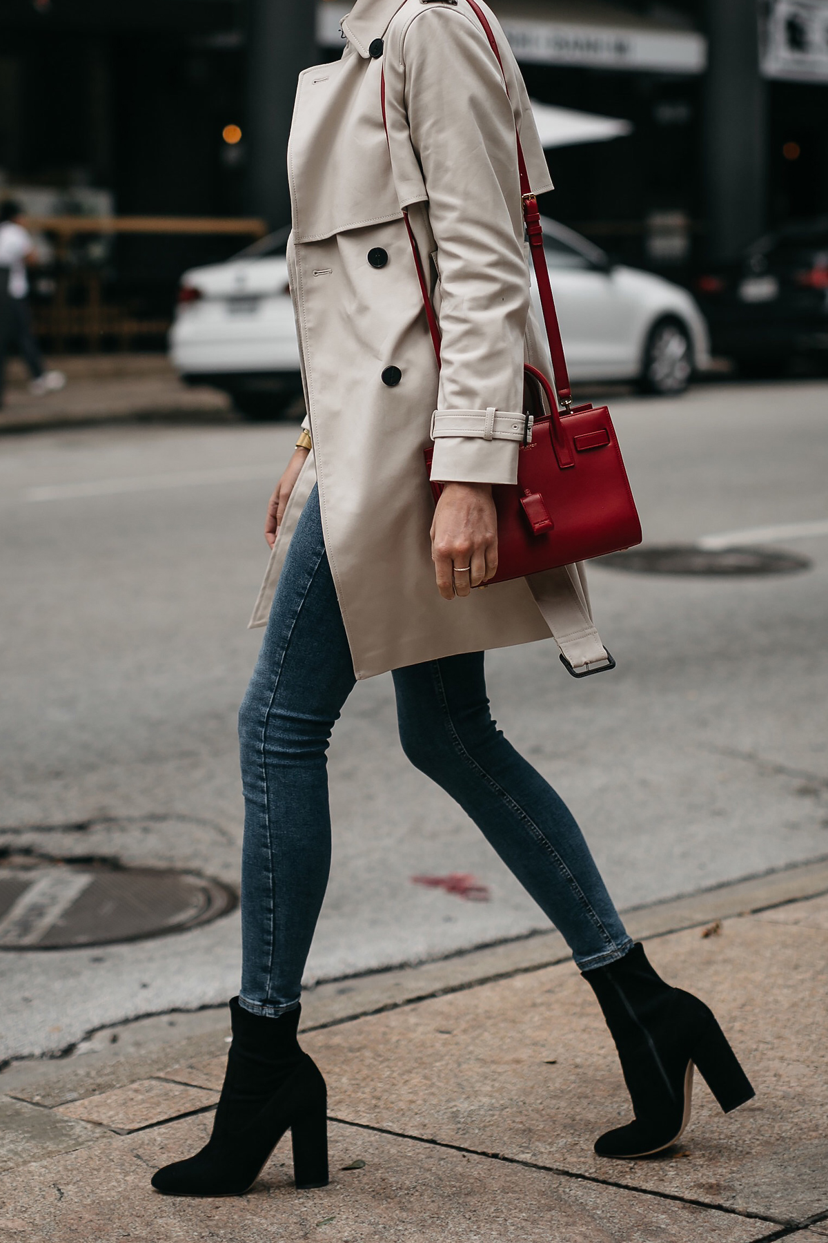 Fashion Jackson Club Monaco Trench Coat Denim Skinny Jeans Black Ankle Booties Saint Laurent Sac De Jour Red 1