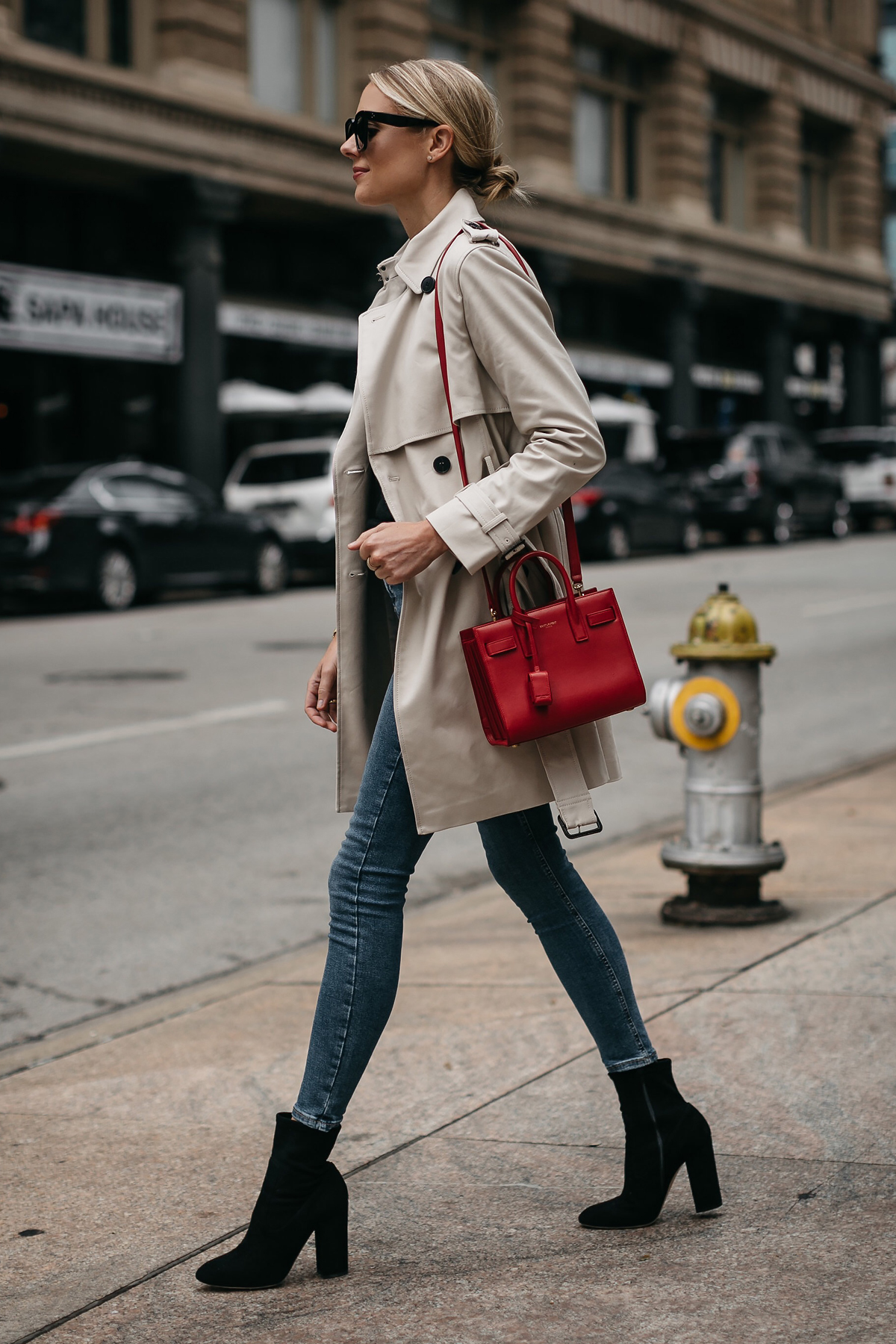 Fashion Jackson Club Monaco Trench Coat Denim Skinny Jeans Black Ankle Booties Saint Laurent Sac De Jour Red