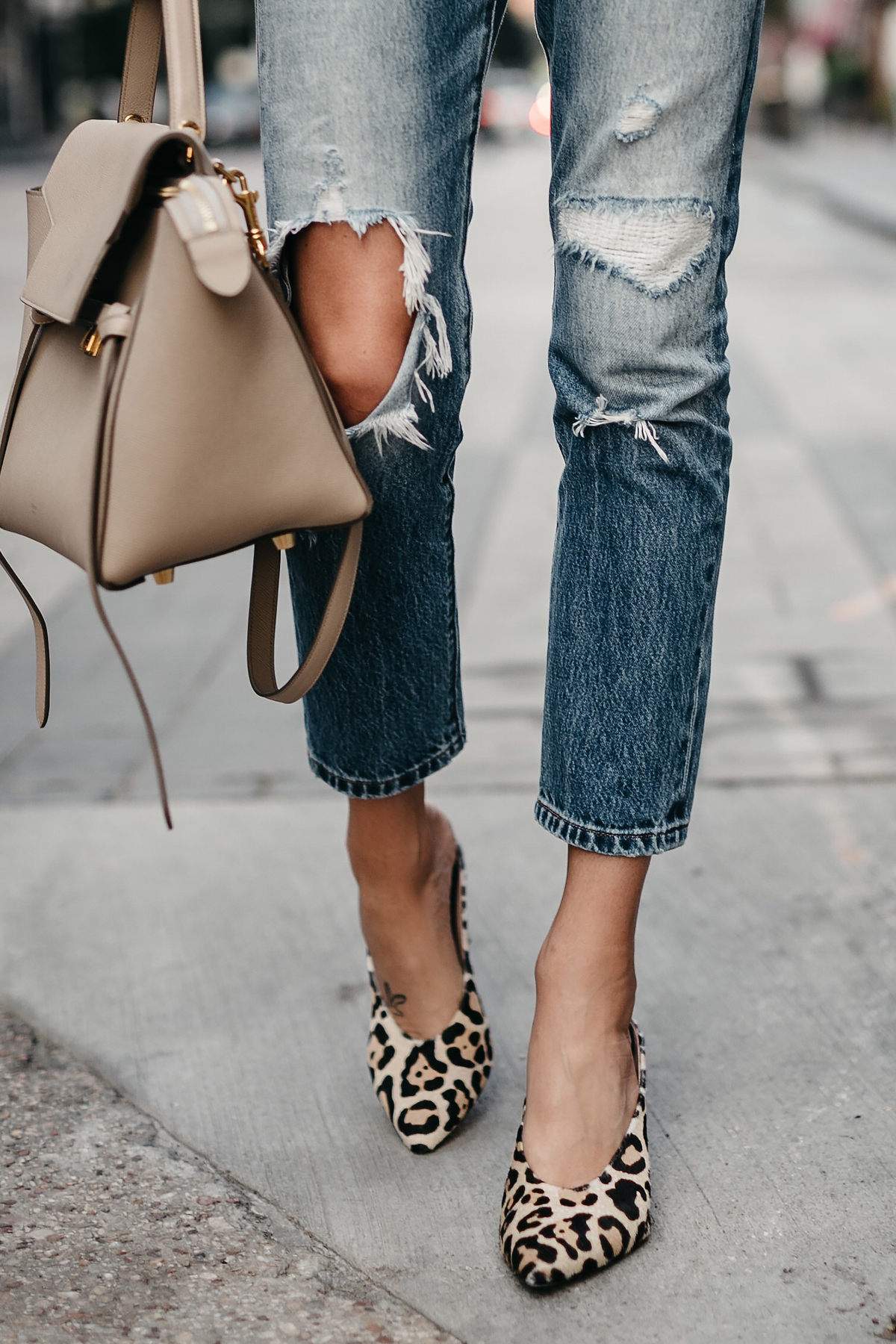 Denim Ripped Jeans Celine Mini Belt Bag Leopard Heels Fall-Fashion Must Haves Fashion Jackson Dallas Blogger Fashion Blogger Street Style