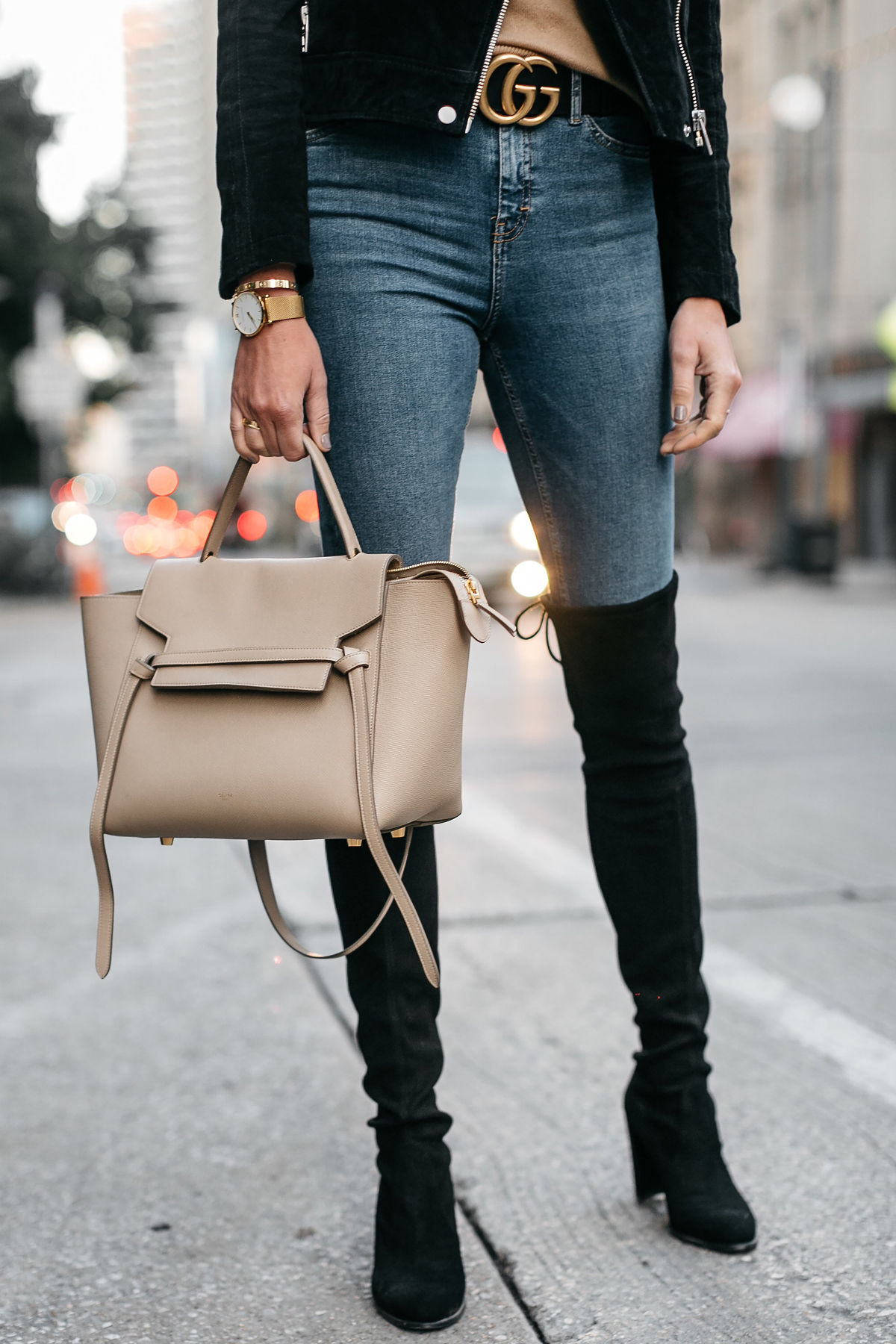 7346faae7de Denim Skinny Jeans Stuart Weitzman Over-the-Knee boots Gucci Marmont Belt  Fashion Jackson.   pipdig right . Black Suede Moto Jacket Camel Sweater ...