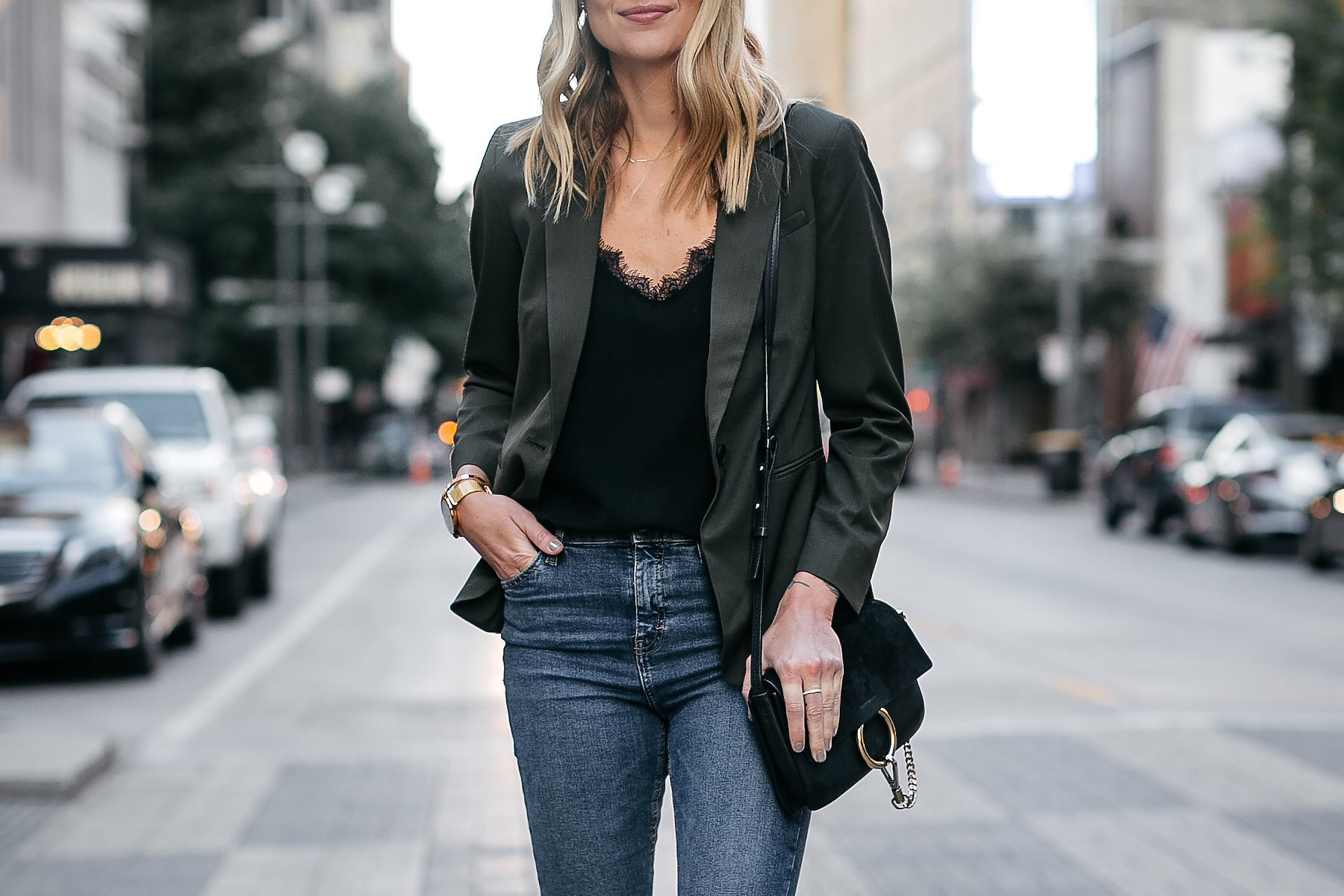 Everlane Olive Green Blazer Anine Bing Black Lace Cami Denim Jeans Chloe Faye Black Handbag Fashion Jackson Dallas Blogger Fashion Blogger Street Style