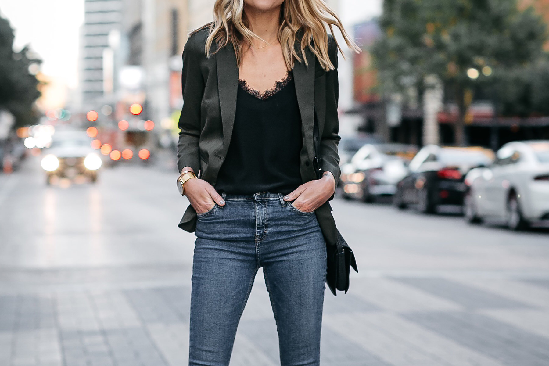 Everlane Olive Green Blazer Anine Bing Black Lace Cami Denim Jeans Fashion Jackson Dallas Blogger Fashion Blogger Street Style