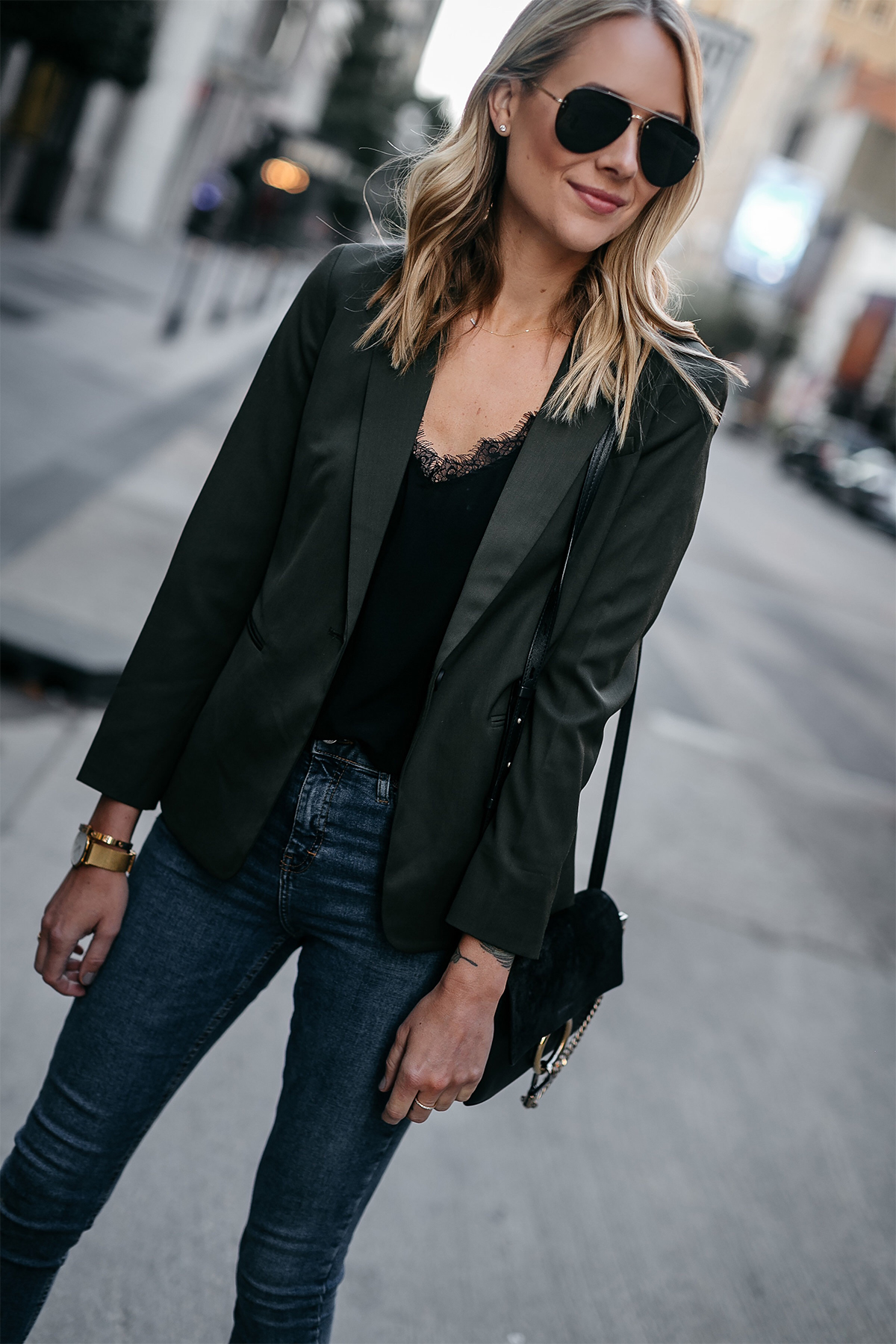 Blonde Woman Wearing Everlane Olive Green Blazer Anine Bing Black Lace Cami Topshop Denim Skinny Jeans Chloe Faye Black Handbag Fashion Jackson Dallas Blogger Fashion Blogger Street Style