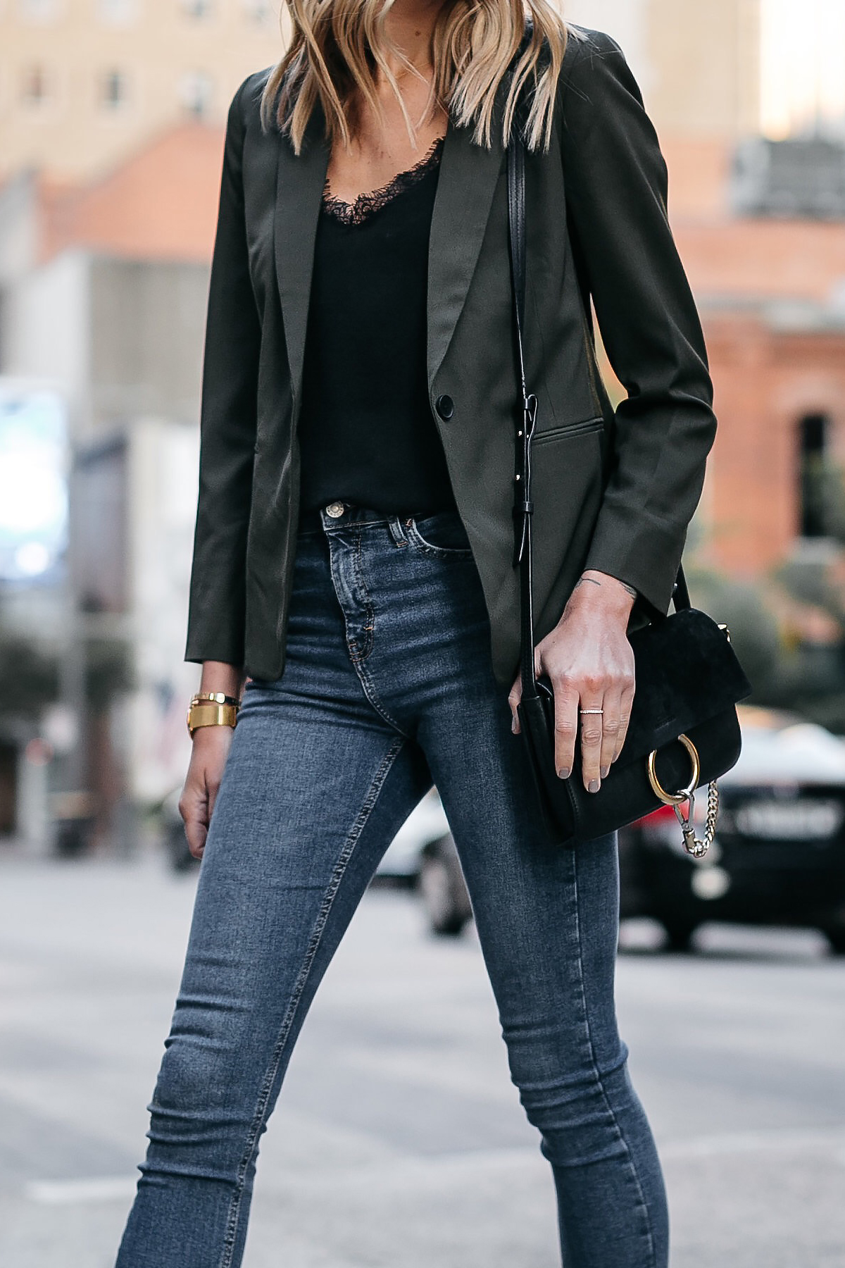 Everlane Olive Green Blazer Anine Bing Black Lace Cami Topshop Denim Skinny Jeans Chloe Faye Black Handbag Fashion Jackson Dallas Blogger Fashion Blogger Street Style