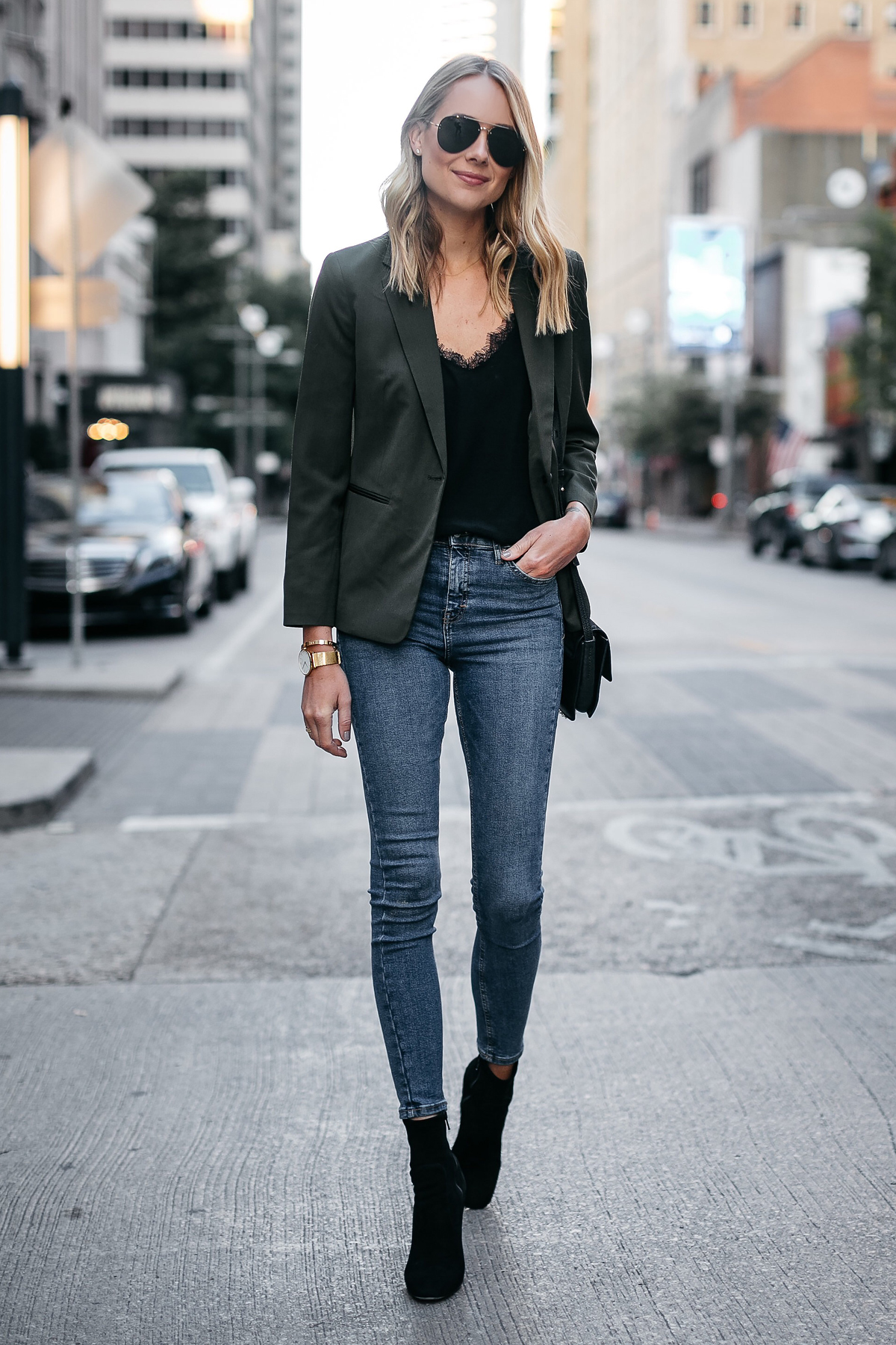 Blonde Woman Wearing Everlane Olive Green Blazer Anine Bing Black Lace Cami Topshop Denim Skinny Jeans Club Monaco Black Booties Fashion Jackson Dallas Blogger Fashion Blogger Street Style