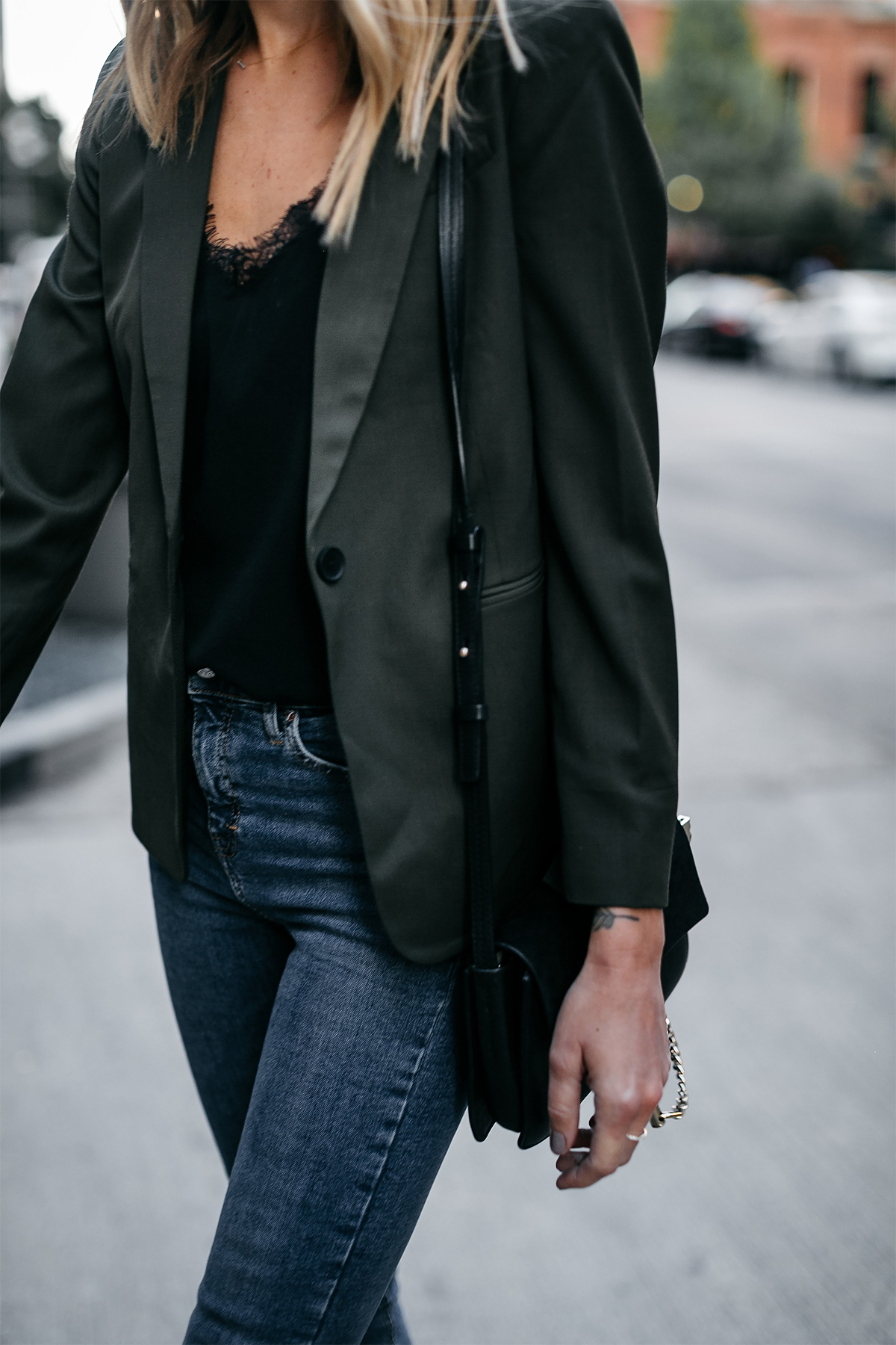 Everlane Olive Green Blazer Black Cami Denim Jeans Fashion Jackson Dallas Blogger Fashion Blogger Street Style