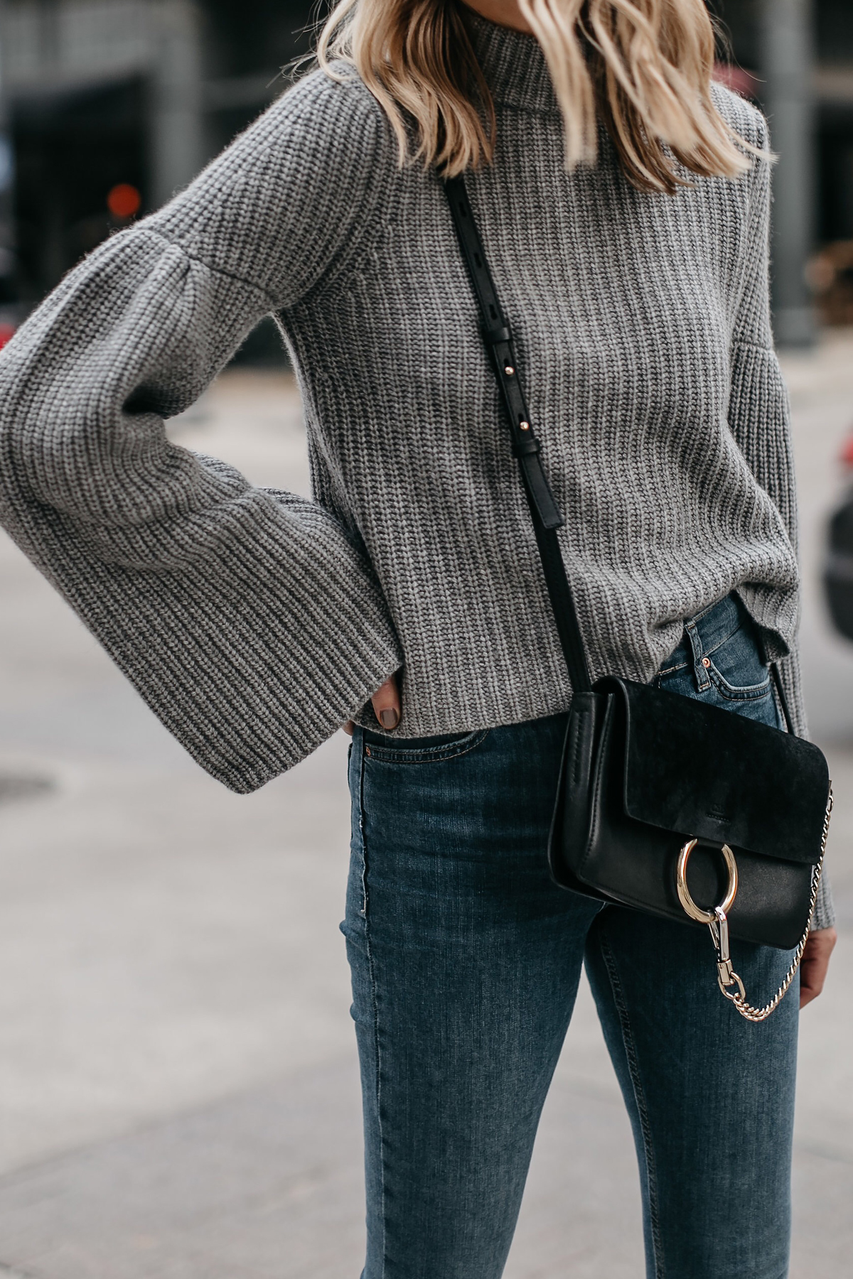 Grey Bell Sleeve Sweater Chloe Faye Black Handbag Fashion Jackson Dallas Blogger Fashion Blogger Street Style