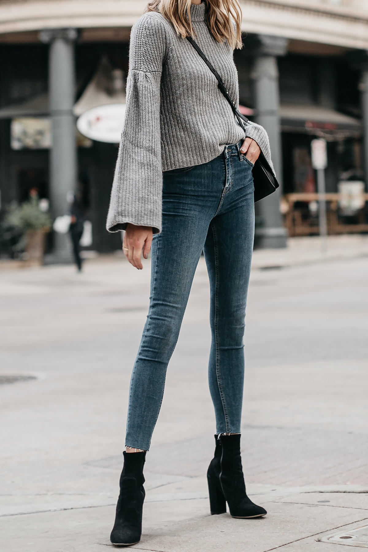 Grey Bell Sleeve Sweater Denim Skinny Jeans Black Booties Fashion Jackson Dallas Blogger Fashion Blogger Street Style