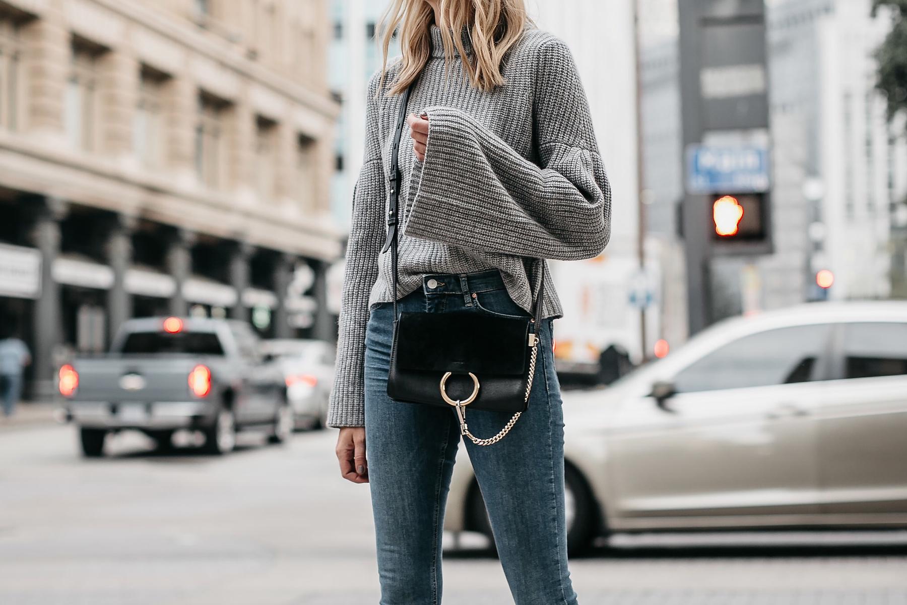 Grey Bell Sleeve Sweater Denim Skinny Jeans Chloe Faye Black Handbag Fashion Jackson Dallas Blogger Fashion Blogger Street Style