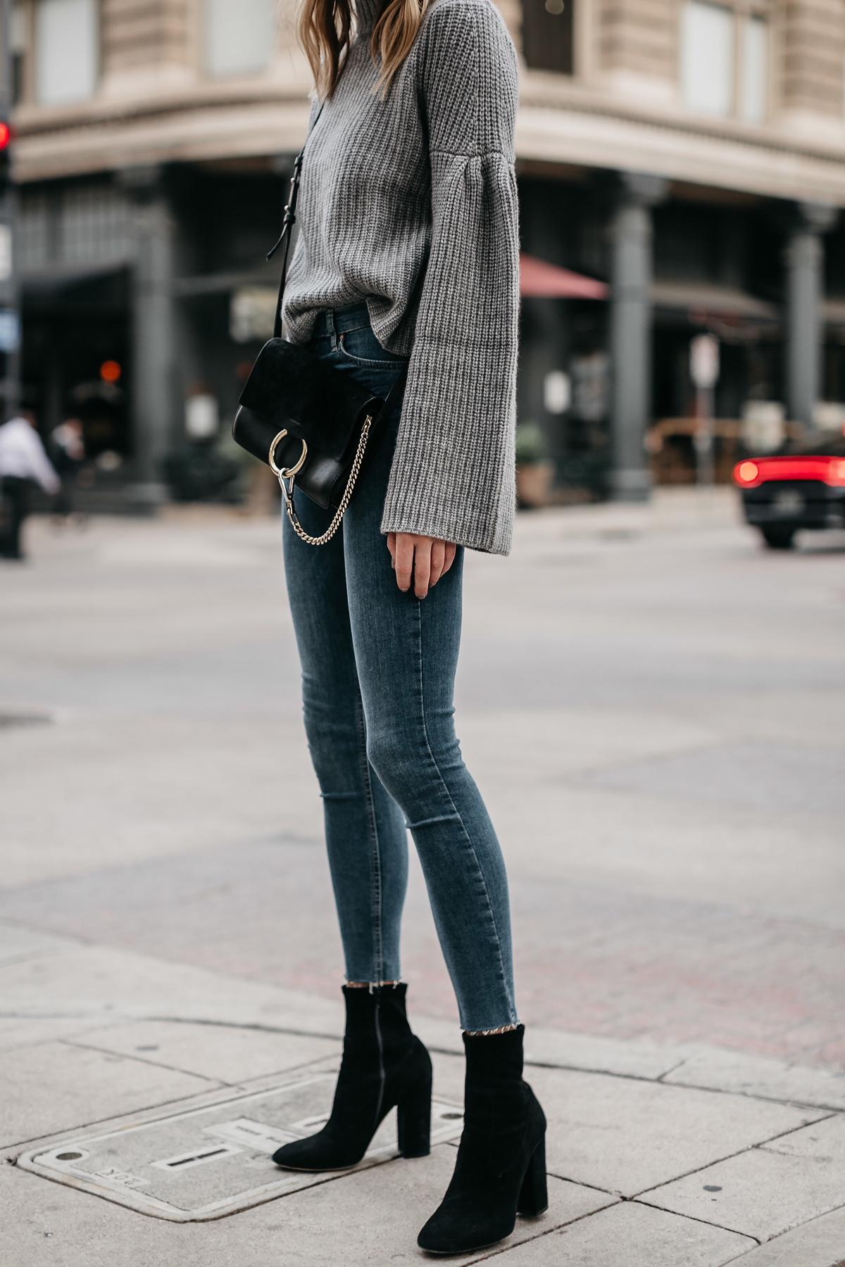 Grey Bell Sleeve Sweater Denim Skinny Jeans Chloe Faye Black Handbag Black Booties Fashion Jackson Dallas Blogger Fashion Blogger Street Style
