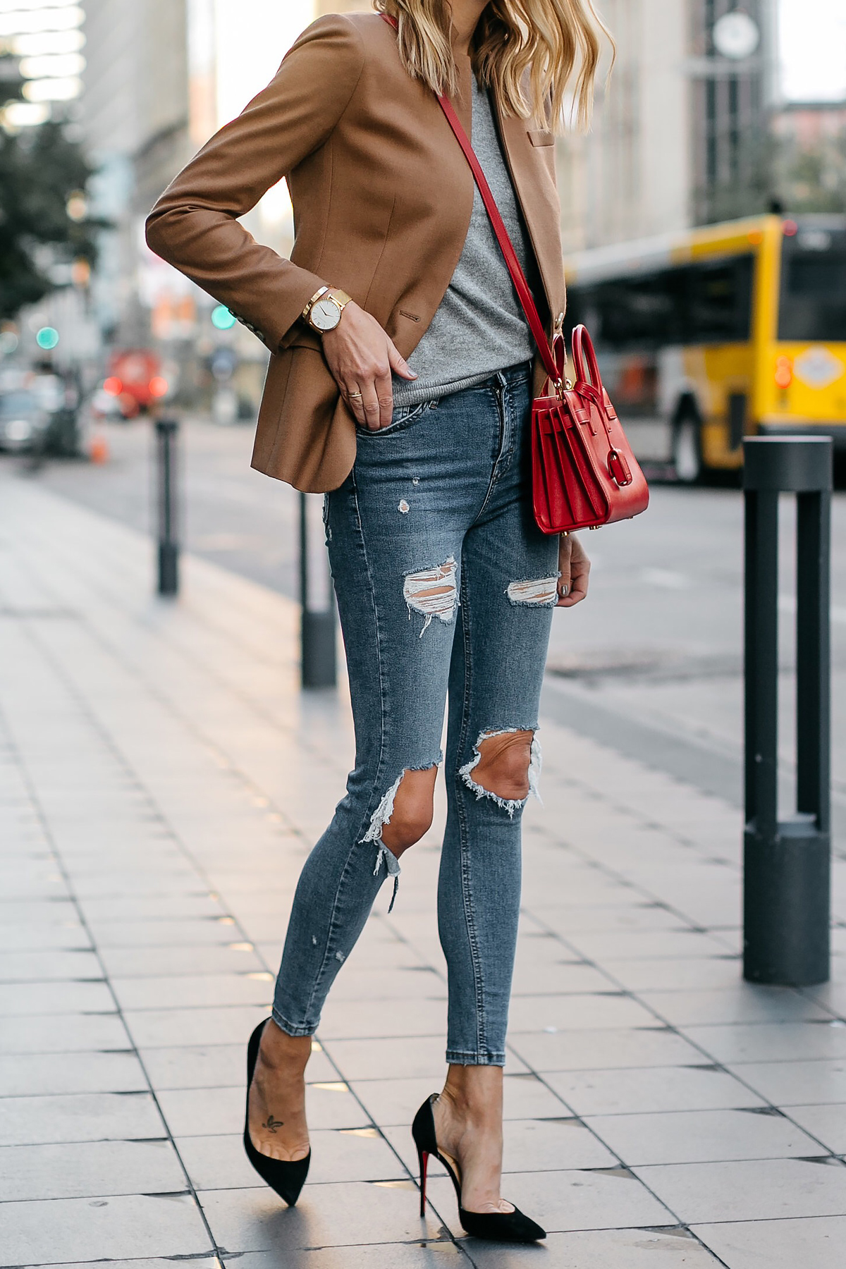 Jcrew Camel Blazer Grey Sweater Ripped Denim Jeans Black Pumps Saint Laurent Sac De Jour Nano Red Bag Fashion Jackson Dallas Blogger Fashion Blogger Street Style