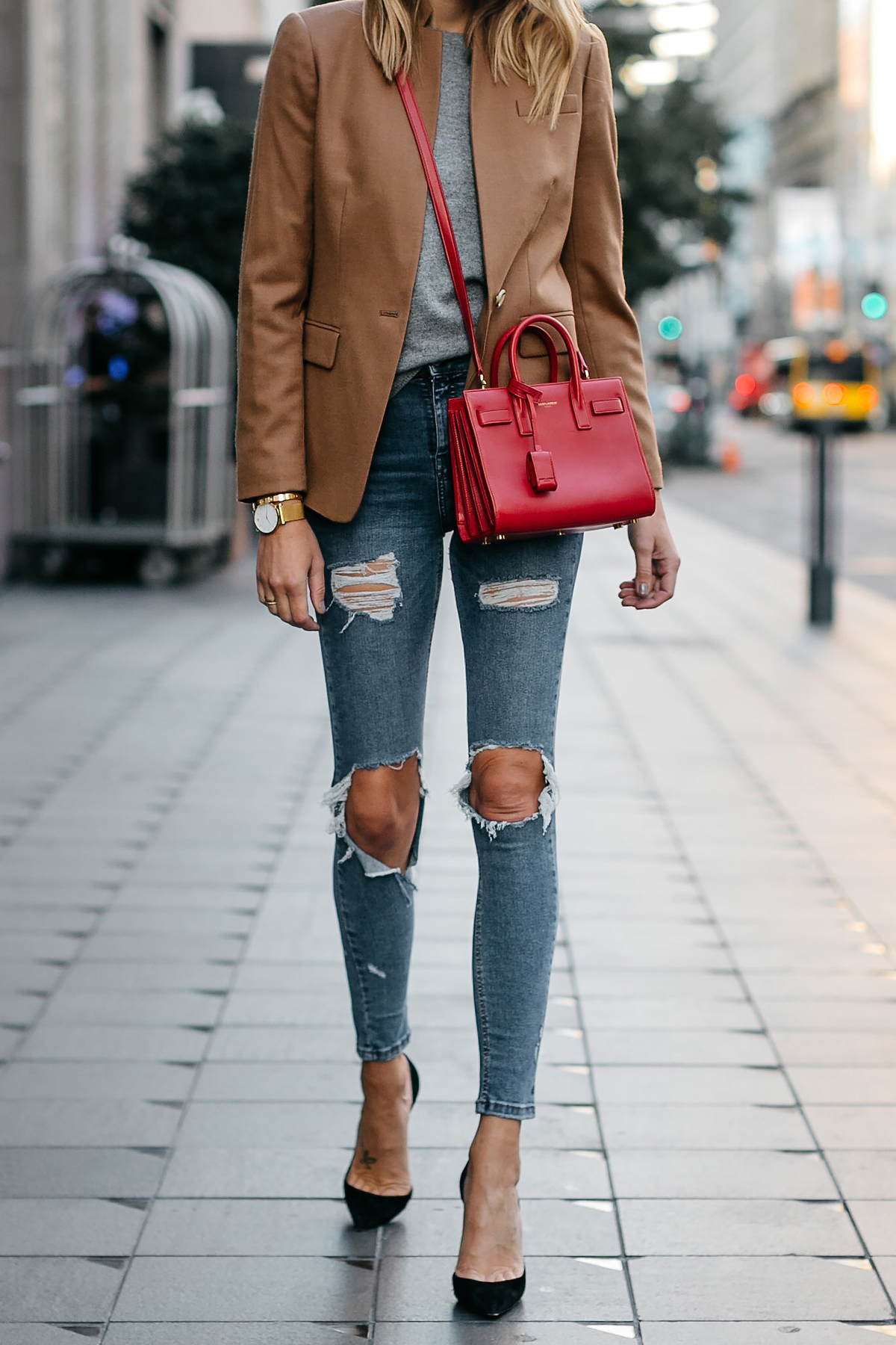 Jcrew Camel Blazer Grey Sweater Ripped Denim Jeans Black Pumps Saint Laurent Sac De Jour Nano Red Bag Fashion Jackson Dallas Blogger Fashion Blogger Street Style