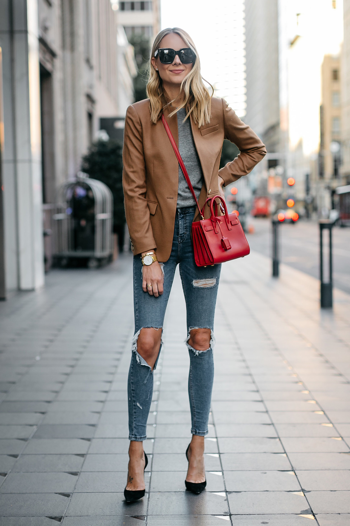Blonde Woman Wearing Jcrew Camel Blazer Grey Sweater Ripped Denim Jeans Black Pumps Saint Laurent Sac De Jour Nano Red Bag Fashion Jackson Dallas Blogger Fashion Blogger Street Style