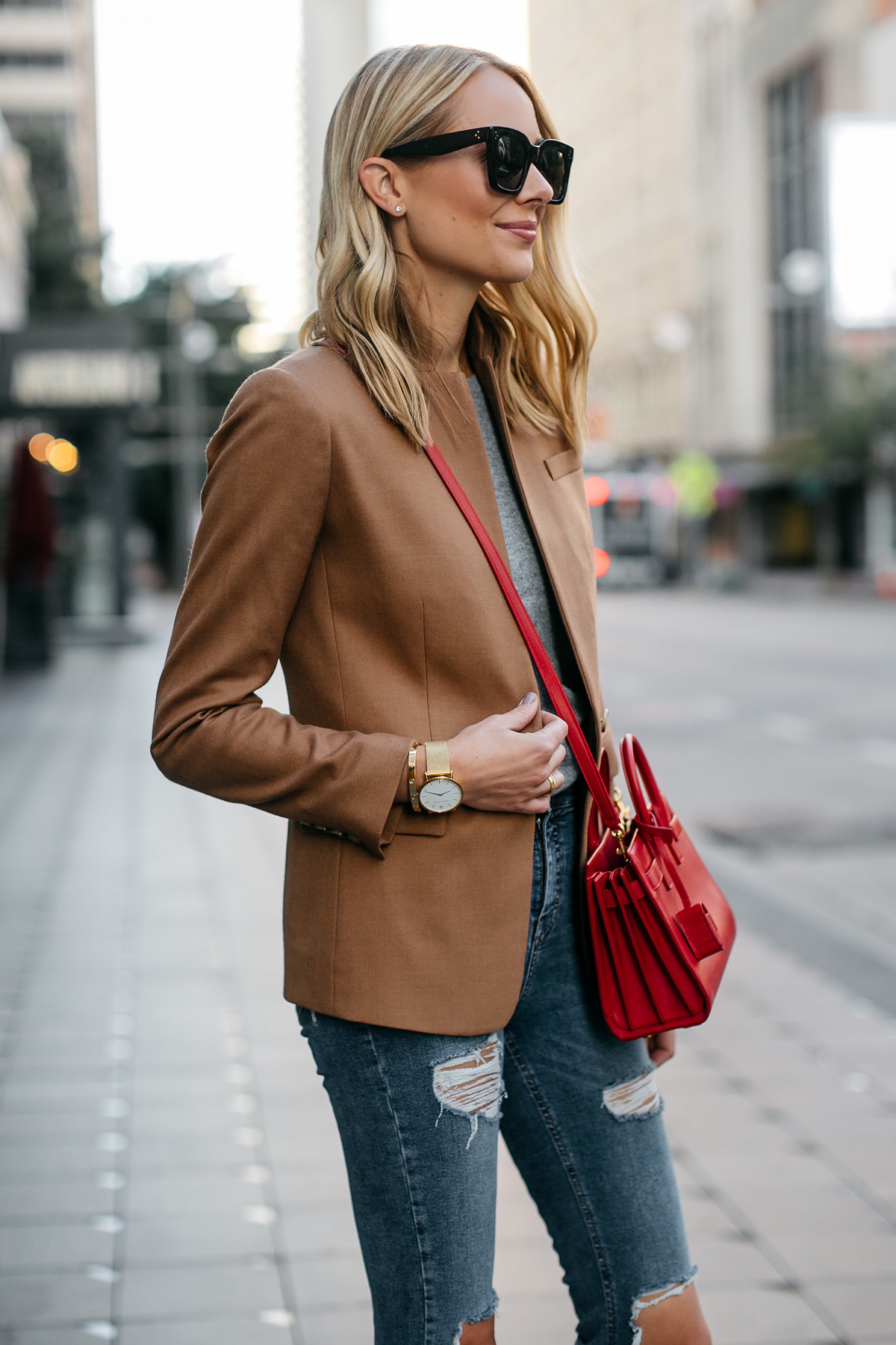 Blonde Woman Wearing Jcrew Camel Blazer Grey Sweater Ripped Denim Jeans Red Bag Fashion Jackson Dallas Blogger Fashion Blogger Street Style