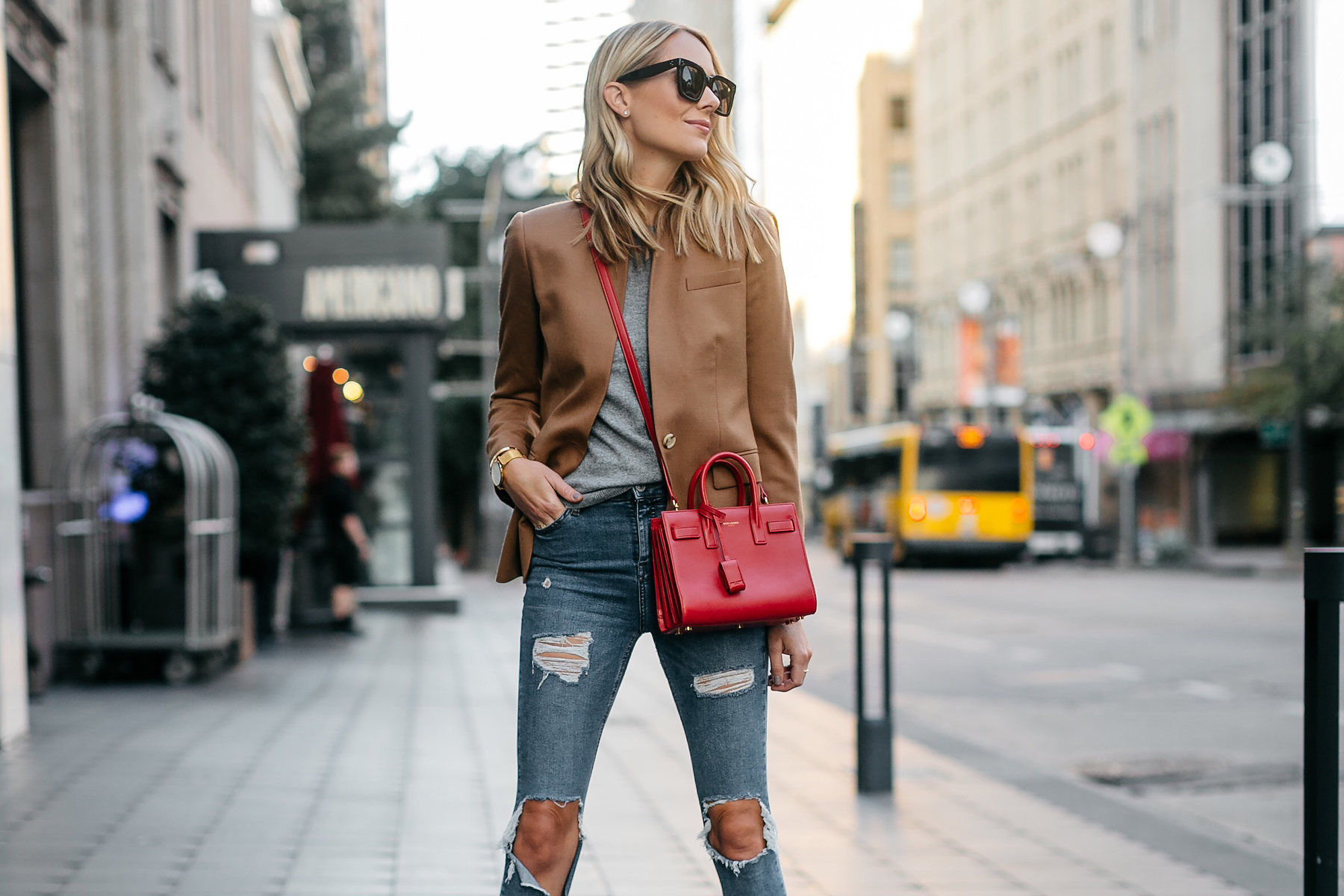 Blonde Woman Wearing Jcrew Camel Blazer Grey Sweater Ripped Denim Jeans Saint Laurent Sac De Jour Nano Red Bag Fashion Jackson Dallas Blogger Fashion Blogger Street Style