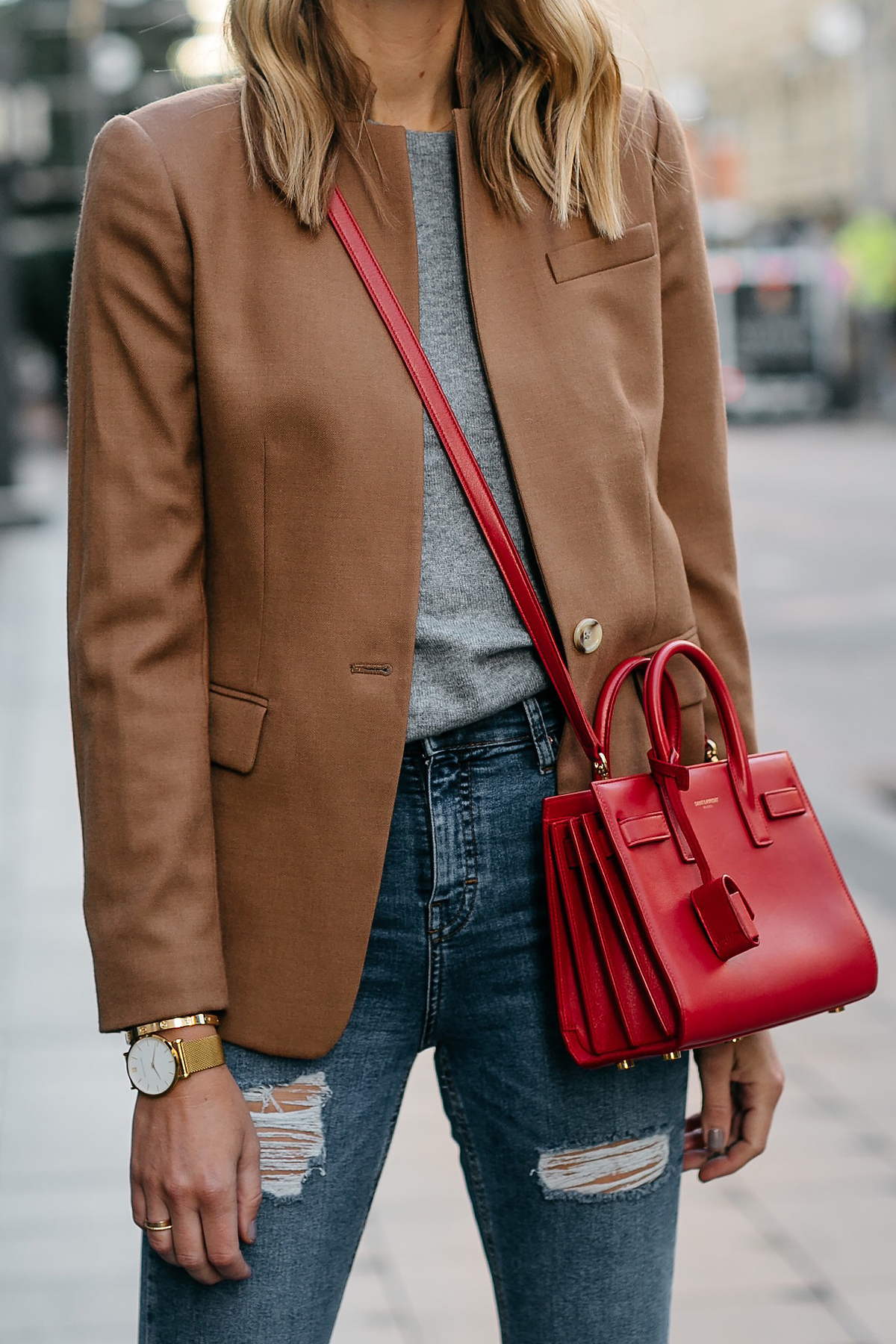 Jcrew Camel Blazer Grey Sweater Ripped Denim Jeans Saint Laurent Sac De Jour Nano Red Bag Fashion Jackson Dallas Blogger Fashion Blogger Street Style