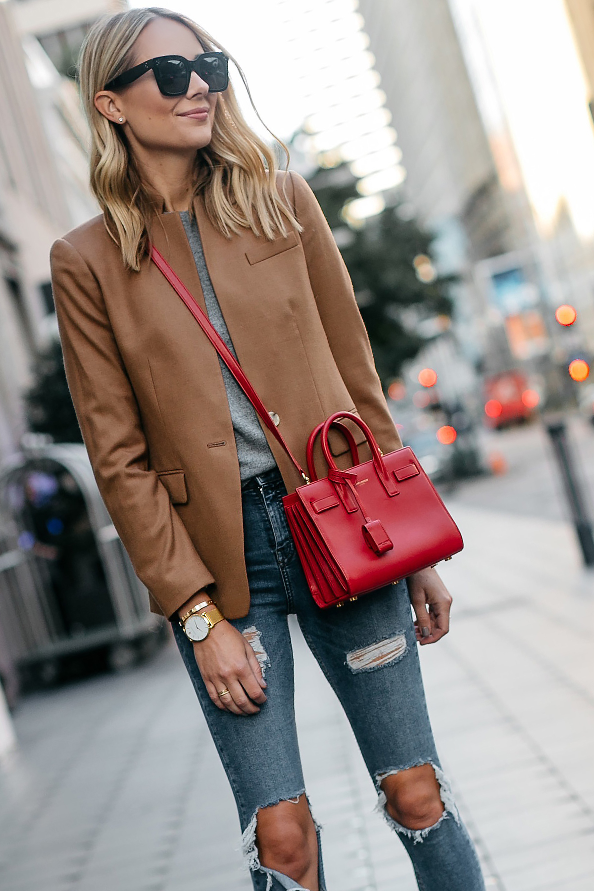 Blonde Woman Wearing Jcrew Camel Blazer Grey Sweater Ripped Denim Jeans Saint Laurent Sac De Jour Nano Red Bag Fashion Jackson Dallas Blogger Fashion Blogger Street Style