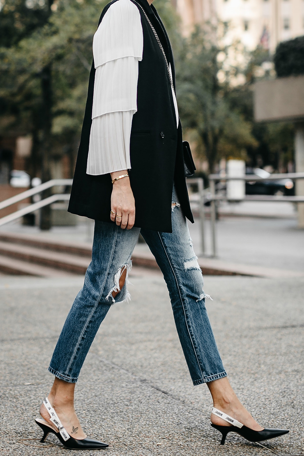 Long Black Vest White Pleat Sleeve Top Denim Ripped Jeans Dior Slingbacks Fashion Jackson Dallas Blogger Fashion Blogger Street Style