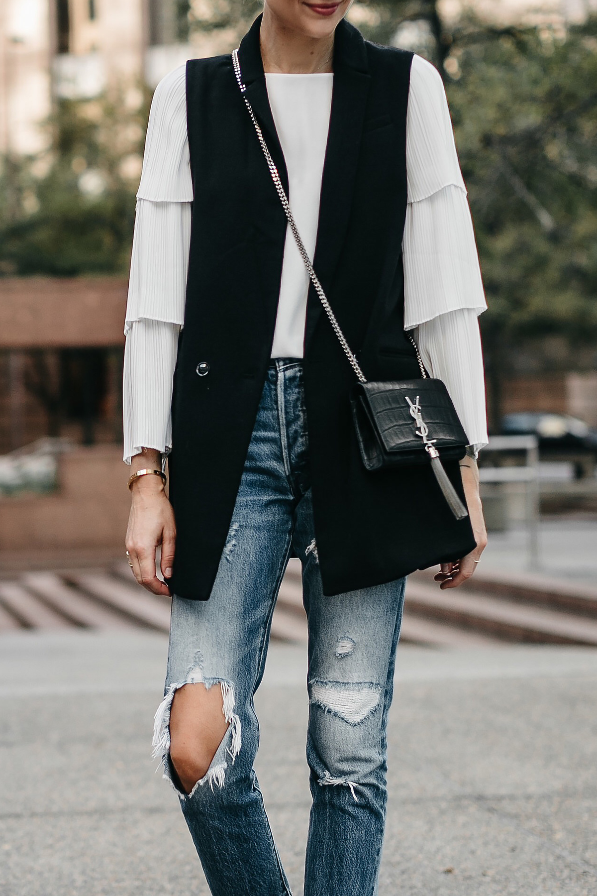 Long Black Vest White Pleat Sleeve Top Denim Ripped Jeans Saint Laurent Crossbody Fashion Jackson Dallas Blogger Fashion Blogger Street Style