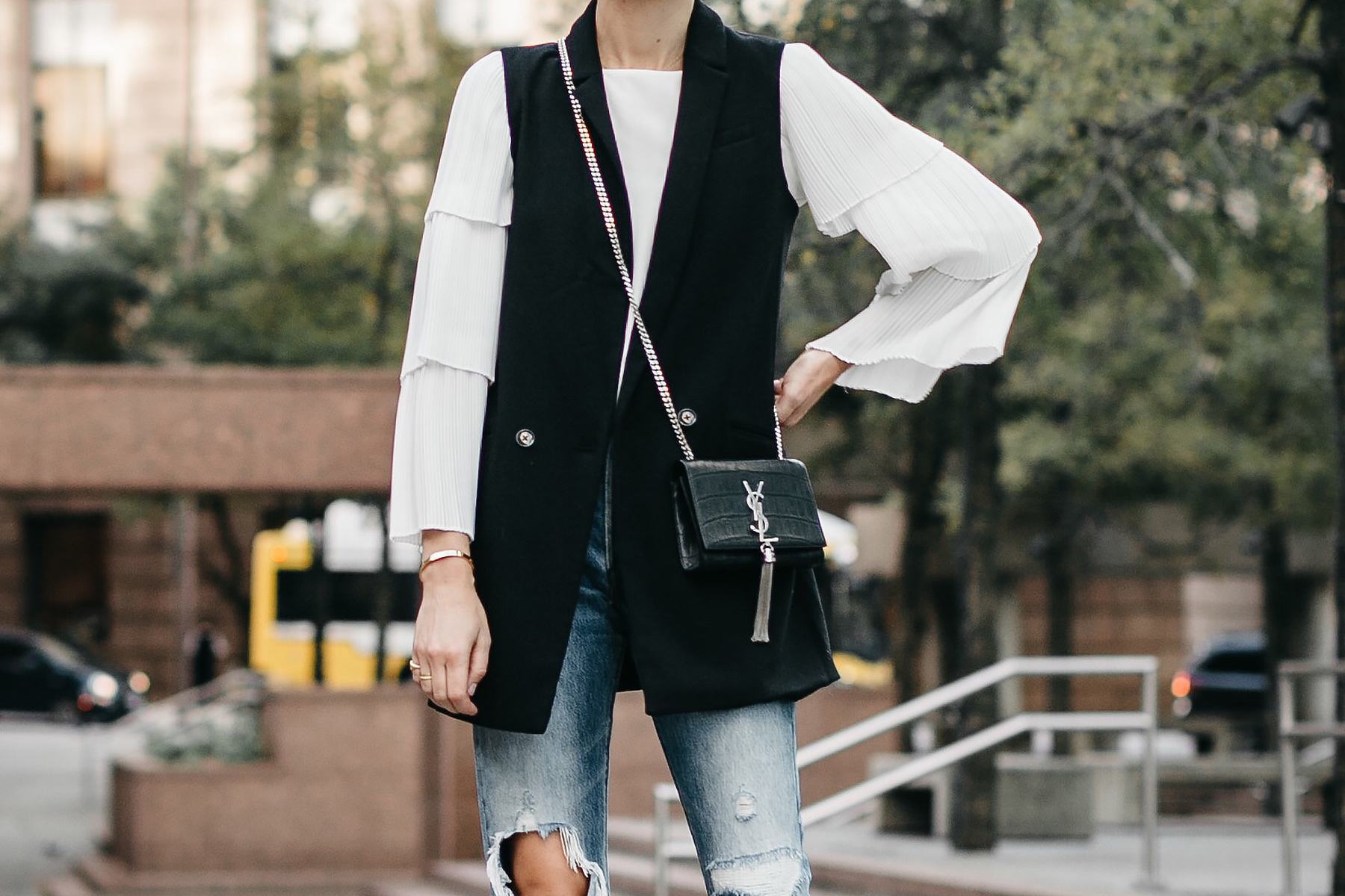 Long Black Vest White Pleat Sleeve Top Denim Ripped Jeans Saint Laurent Monogram Crossbody Fashion Jackson Dallas Blogger Fashion Blogger Street Style