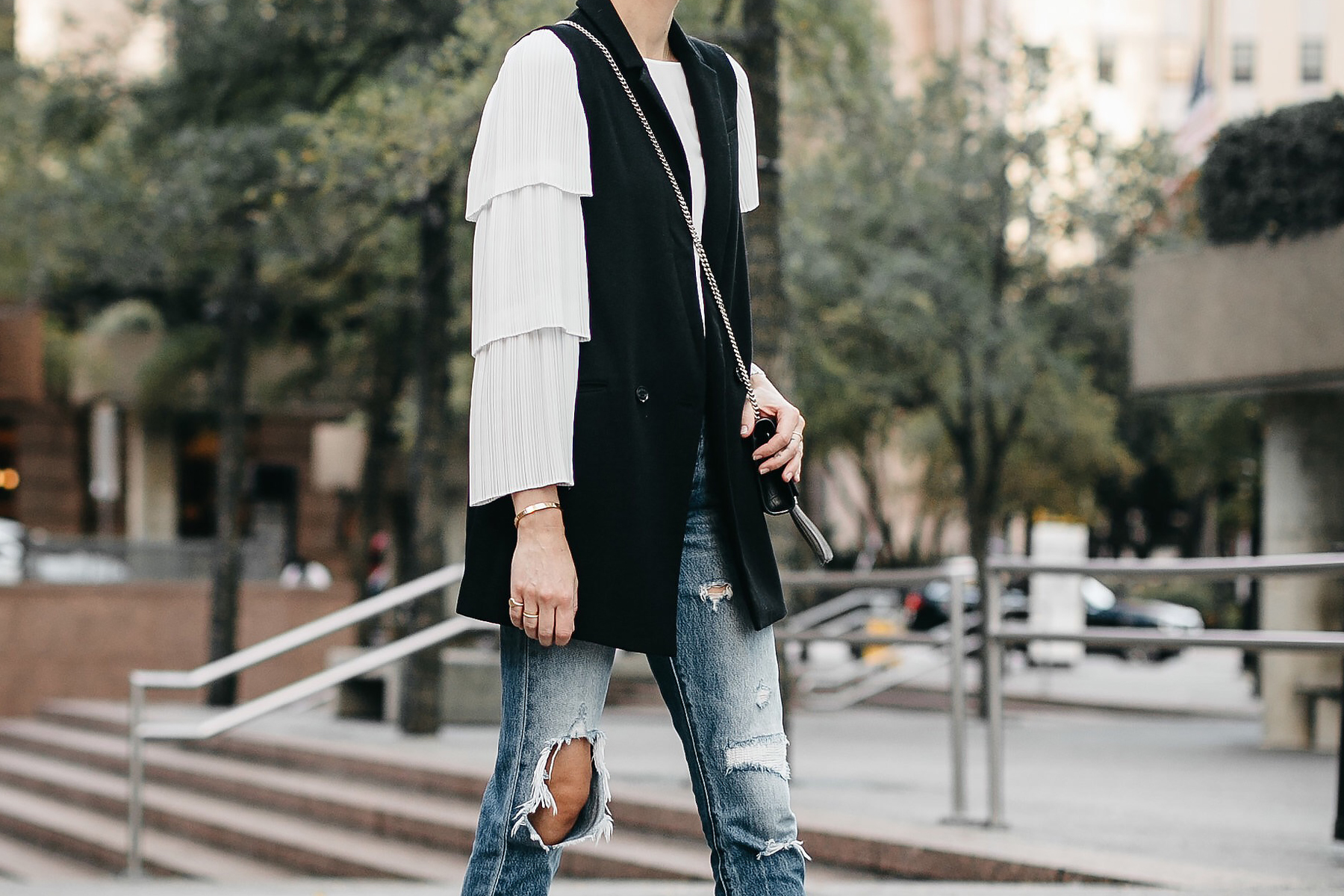 Long Black Vest White Pleat Sleeve Top Denim Ripped Jeans Fashion Jackson Dallas Blogger Fashion Blogger Street Style