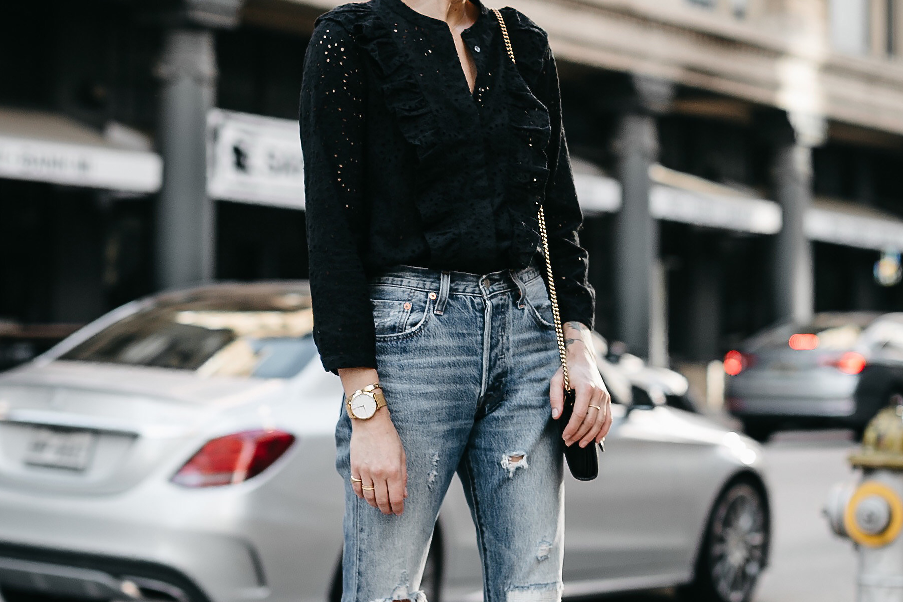 Madewell Black Eyelet Blouse Denim Ripped Jeans Fashion Jackson Dallas Blogger Fashion Blogger Street Style