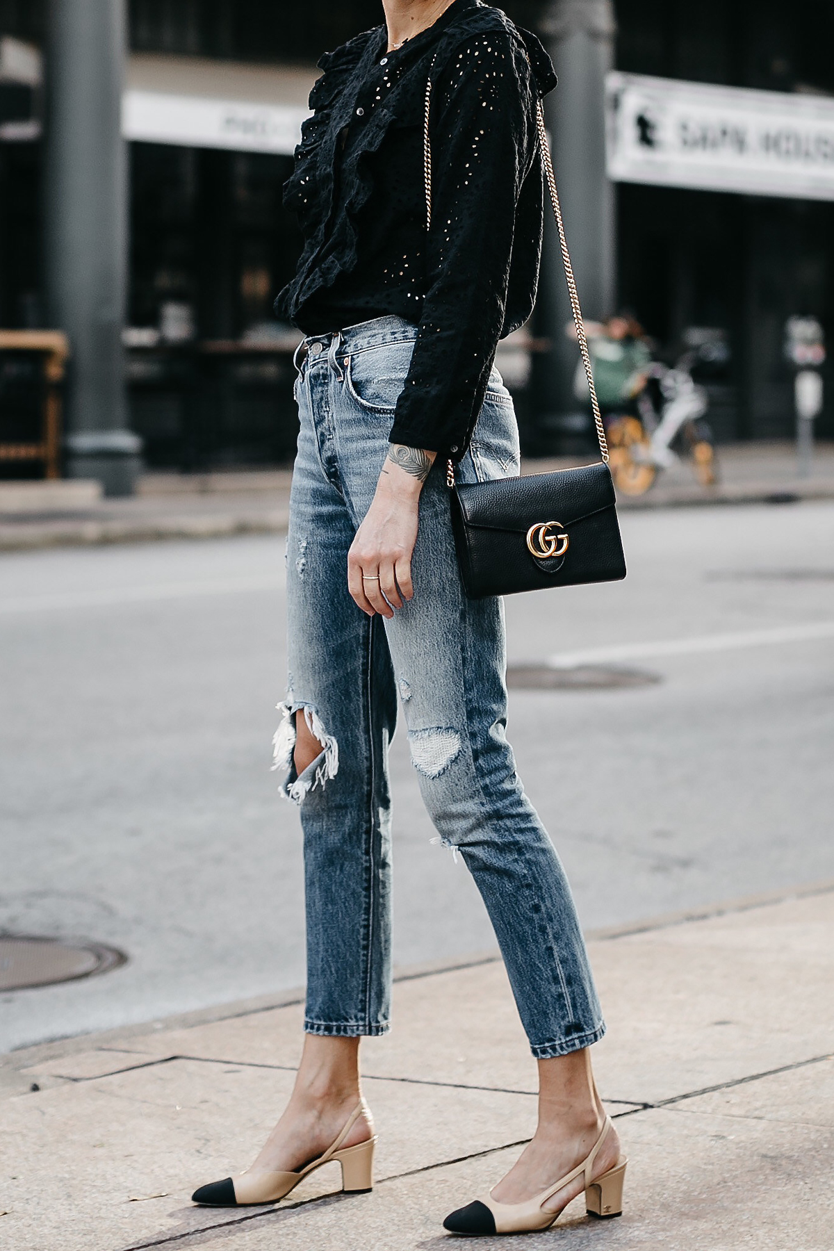 Madewell Black Eyelet Blouse Denim Ripped Skinny Jeans Chanel Slingbacks Gucci Marmont Handbag Fashion Jackson Dallas Blogger Fashion Blogger Street Style