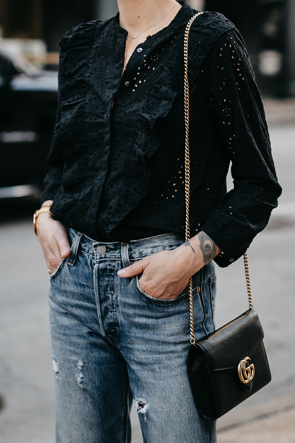 Madewell Black Eyelet Blouse Denim Ripped Skinny Jeans Gucci Marmont Handbag Fashion Jackson Dallas Blogger Fashion Blogger Street Style