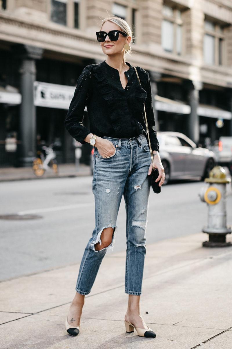 jeans ripped blouse chanel jackson denim outfit levis madewell feminine fashionjackson slingbacks eyelet street woman tops dallas ruffle transitional autumn