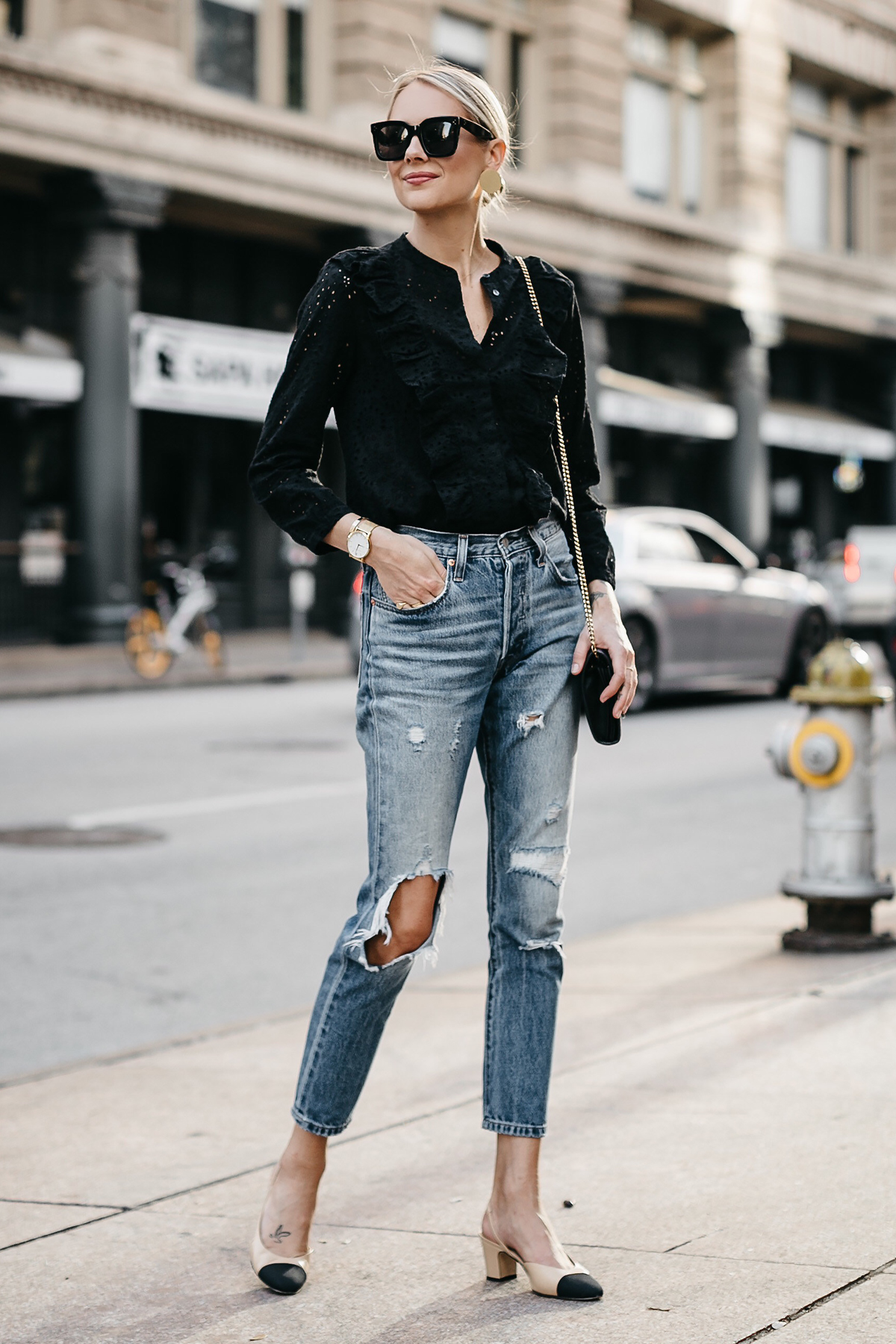 Blonde Woman Wearing Madewell Black Eyelet Blouse Levis Denim Ripped Jeans Chanel Slingbacks Fashion Jackson Dallas Blogger Fashion Blogger Street Style