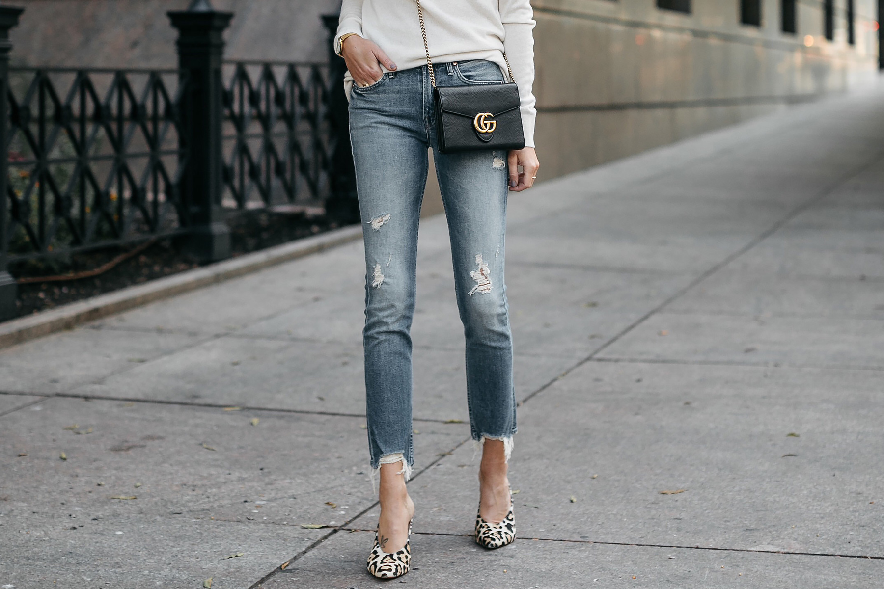 Mother Ripped Denim Jeans Gucci Marmont Handbag Leopard Heels Fashion Jackson Dallas Blogger Fashion Blogger Street Style