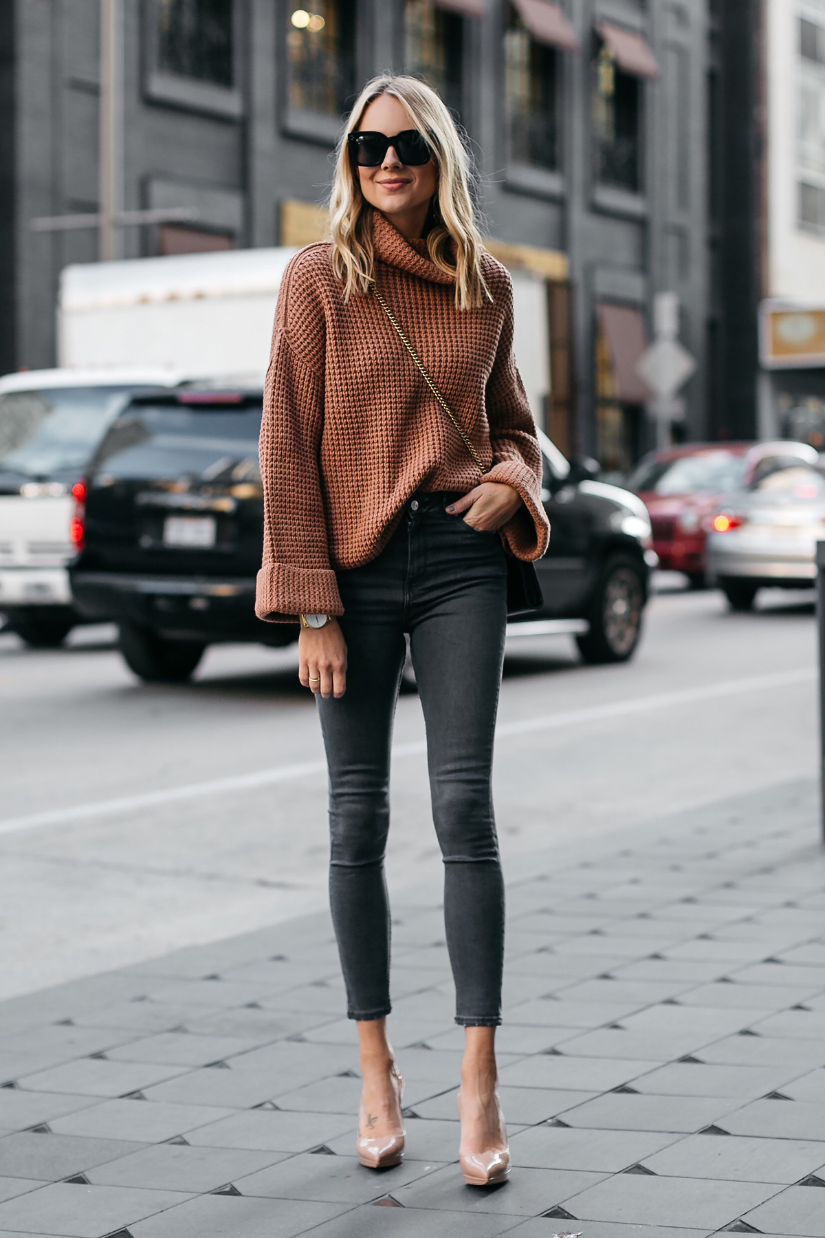 Fashion Jackson Oversized Sweater Free People Park City Pullover Tan Sweater Grey Skinny Jeans Chrisitian Louboutin Nude Pumps