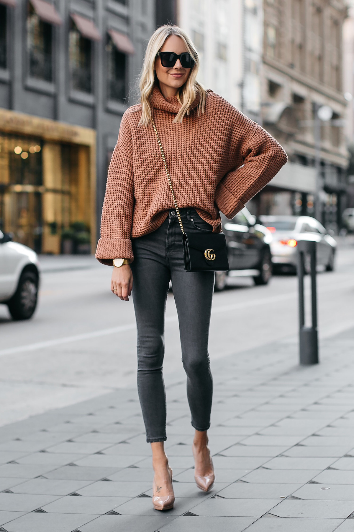 Fashion Jackson Oversized Sweater Free People Park City Pullover Tan Sweater Grey Skinny Jeans Christian Louboutin Nude Pumps Gucci Marmont Handbag