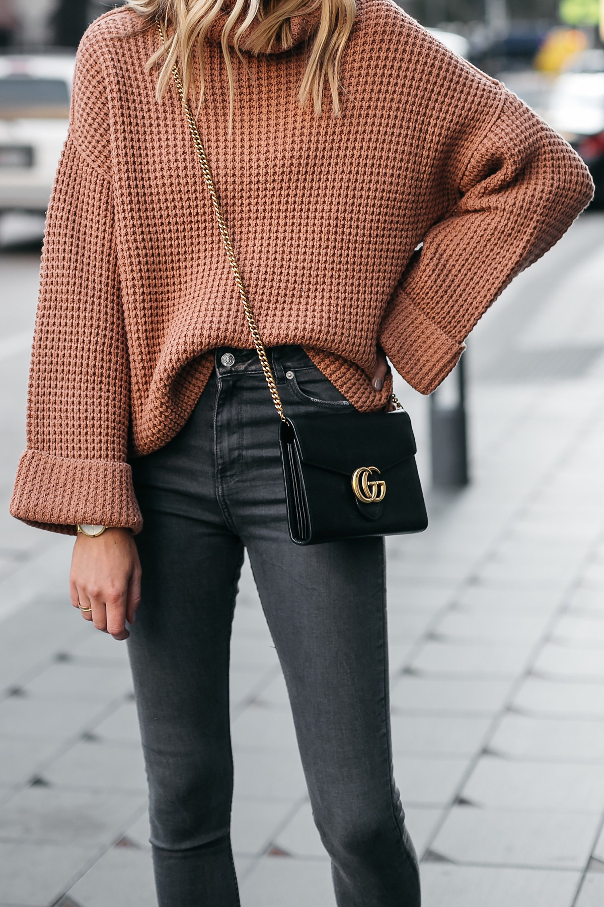 Fashion Jackson Oversized Sweater Free People Park City Pullover Tan Sweater Grey Skinny Jeans Gucci Marmont Handbag