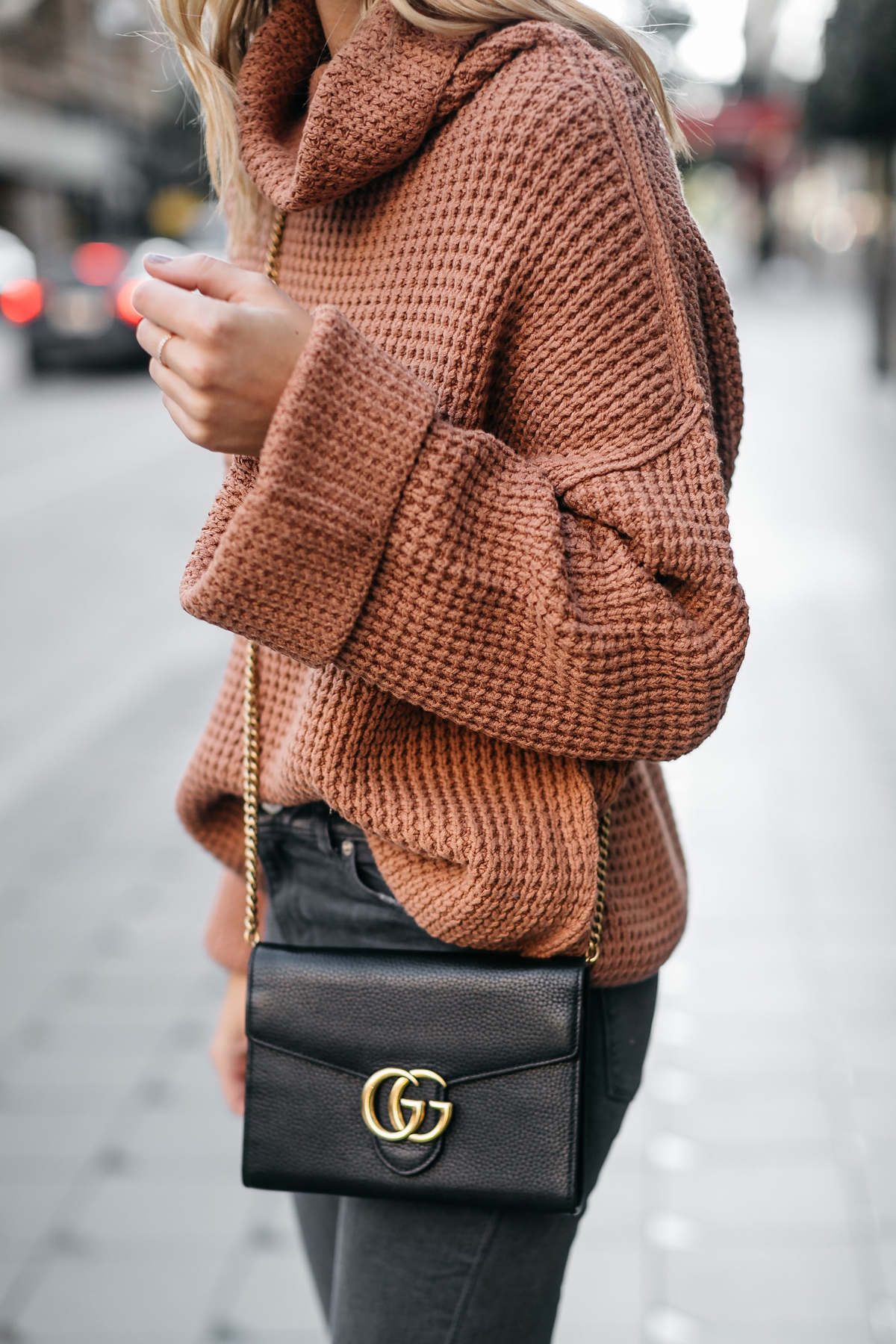 Fashion Jackson Oversized Sweater Free People Park City Pullover Tan Sweater Gucci Marmont Handbag 1