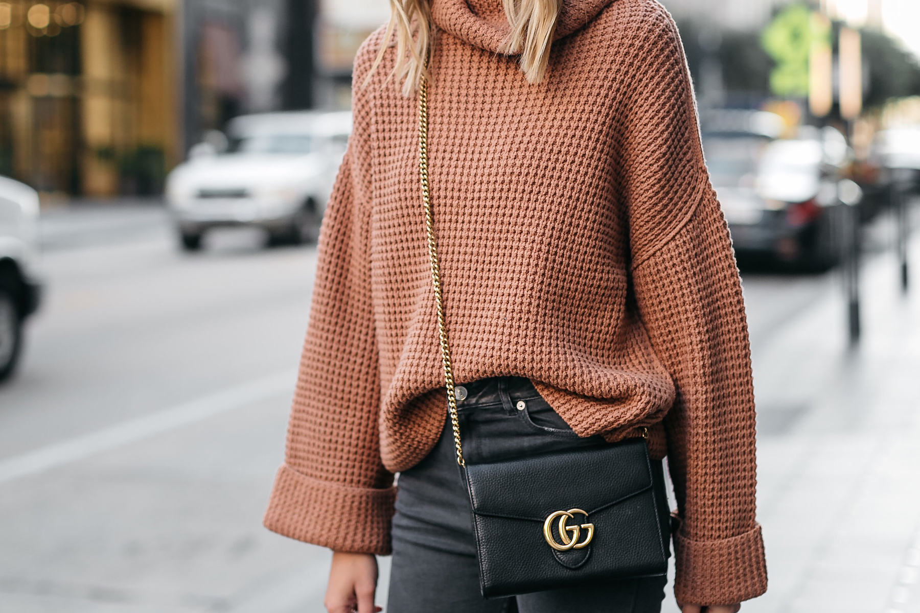 Fashion Jackson Oversized Sweater Free People Park City Pullover Tan Sweater Gucci Marmont Handbag