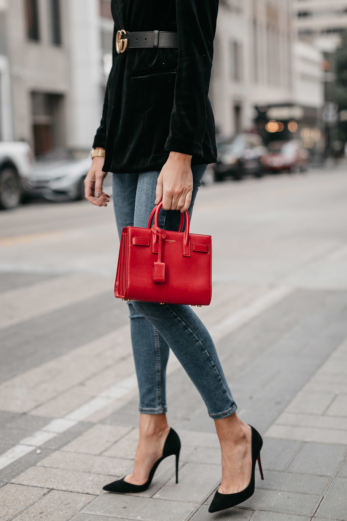 Saint Laurent Red Sac De Jour Black Velvet Blazer Denim Skinny Jeans Christian Louboutin Black Pumps Fashion Jackson Dallas Blogger Fashion Blogger Street Style