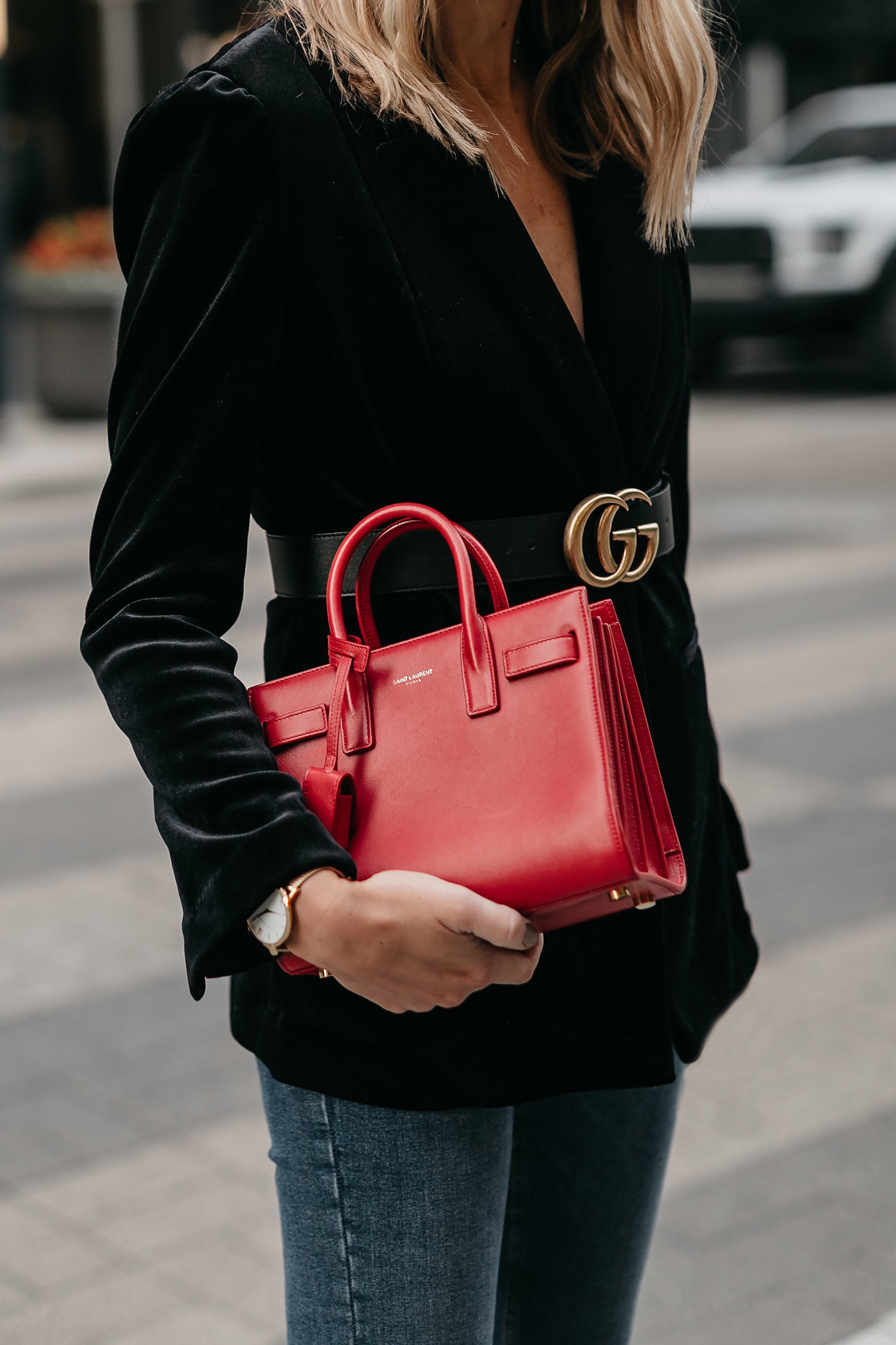 Saint Laurent Red Sac De Jour Black Velvet Blazer Gucci Marmont Belt Fashion Jackson Dallas Blogger Fashion Blogger Street Style