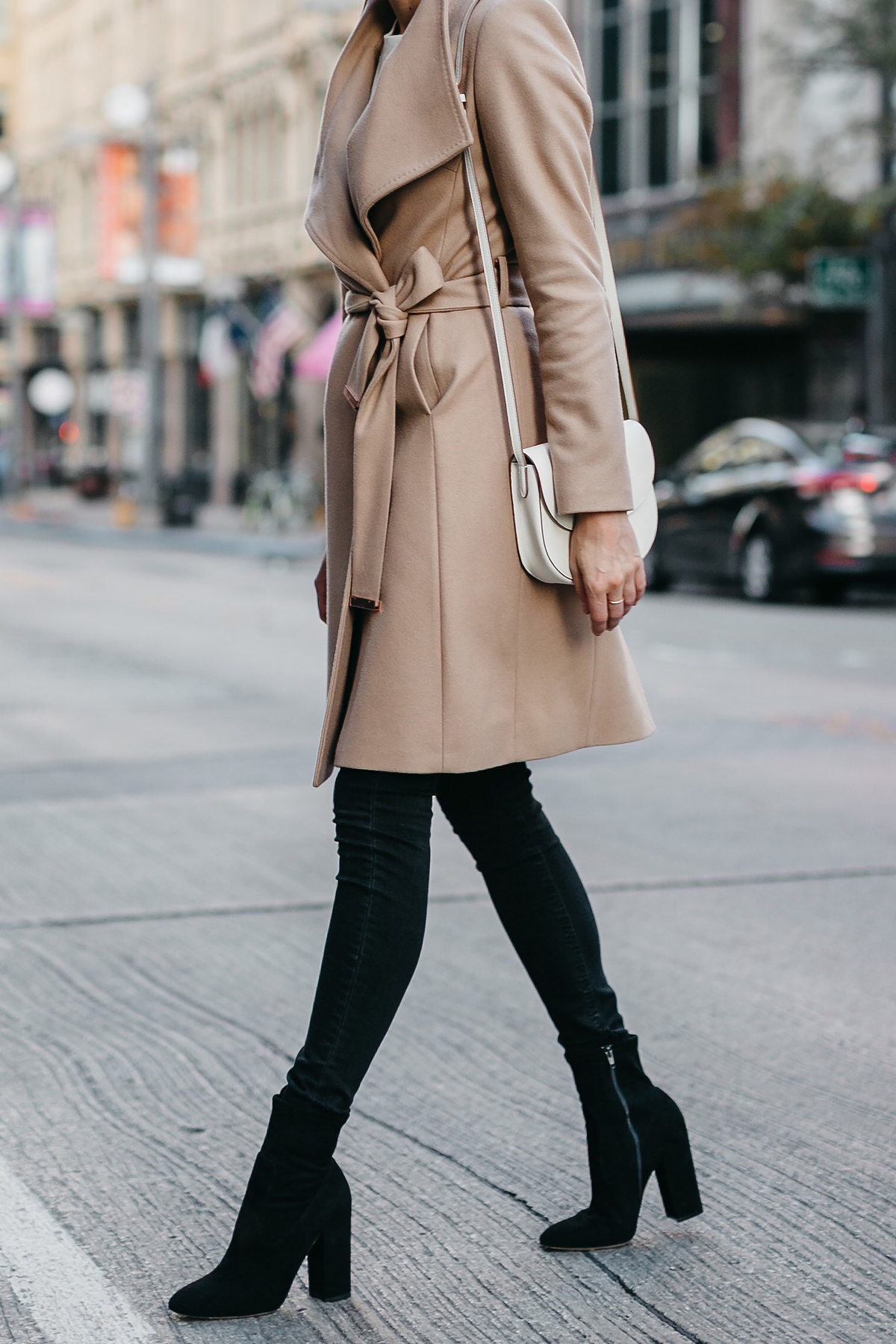 Tan Wrap Coat Black Skinny Jeans Black Booties Fashion Jackson Dallas Blogger Fashion Blogger Street Style