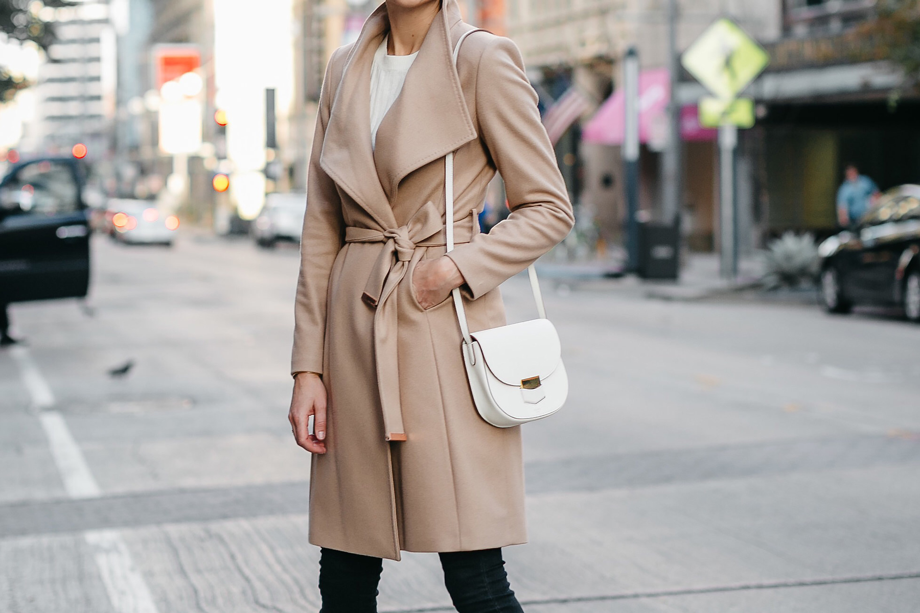 Tan Wrap Coat Celine White Trotteur Handbag Fashion Jackson Dallas Blogger Fashion Blogger Street Style
