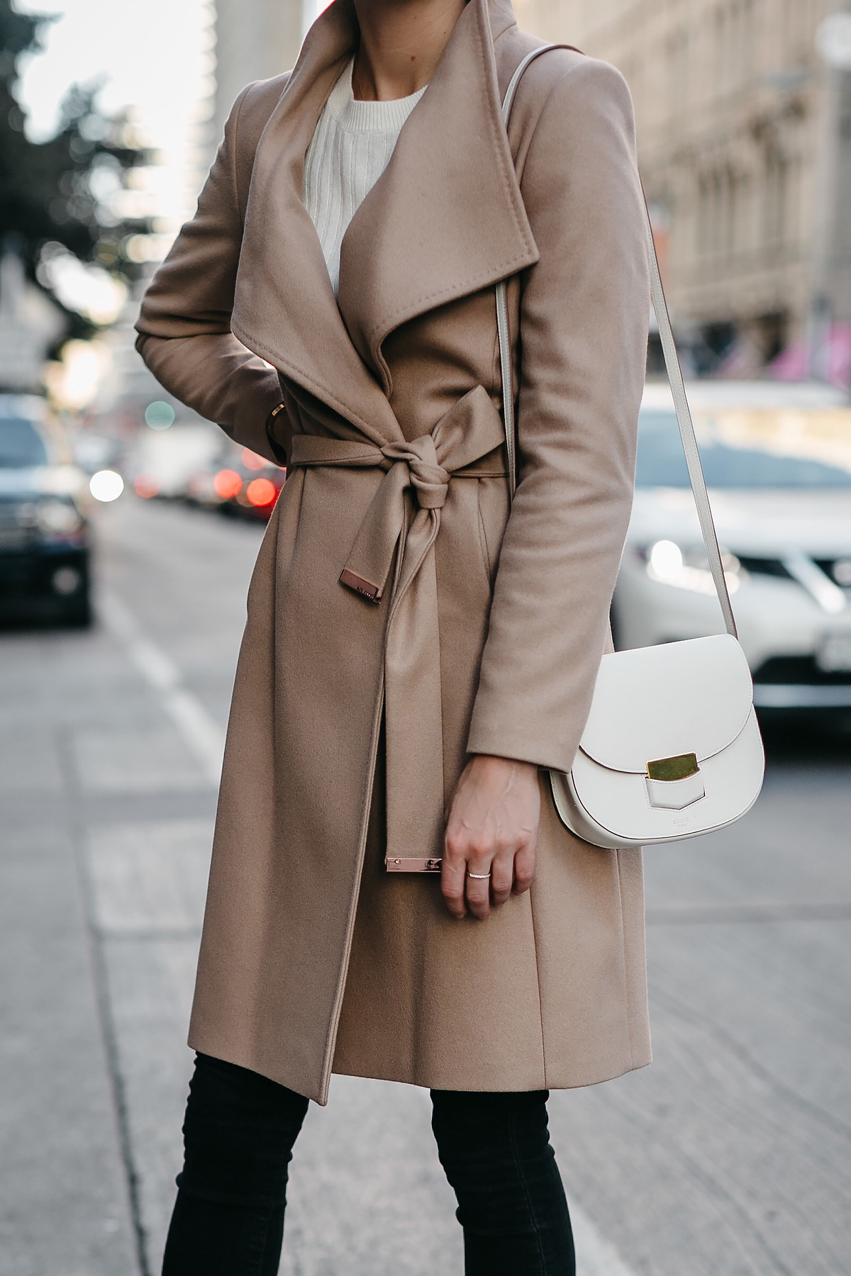 Tan Wrap Coat White Sweater Celine White Trotteur Handbag Black Skinny Jeans Fashion Jackson Dallas Blogger Fashion Blogger Street Style