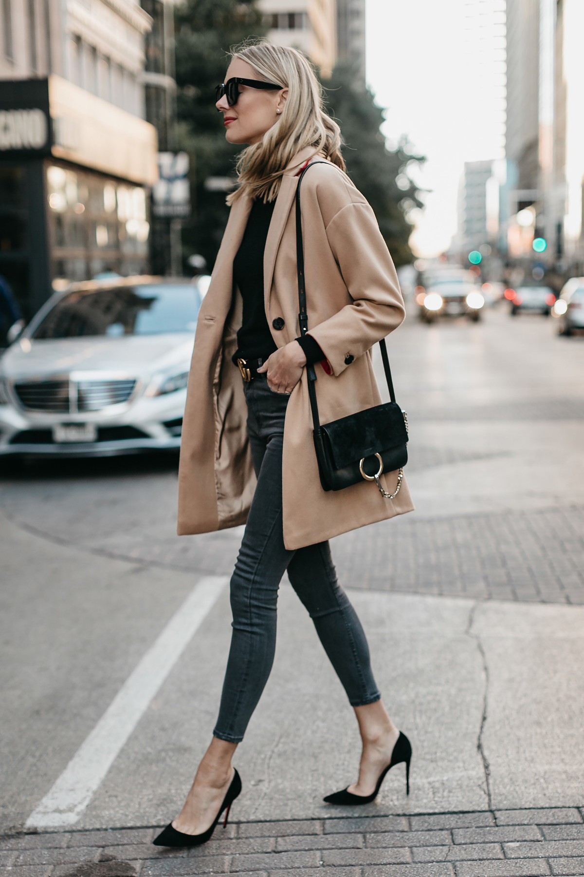 Blonde Woman Wearing Topshop Camel Coat Black Sweater Christian Louboutin Black Pumps Chloe Faye Black Handbag Fashion Jackson Dallas Blogger Fashion Blogger Street Style